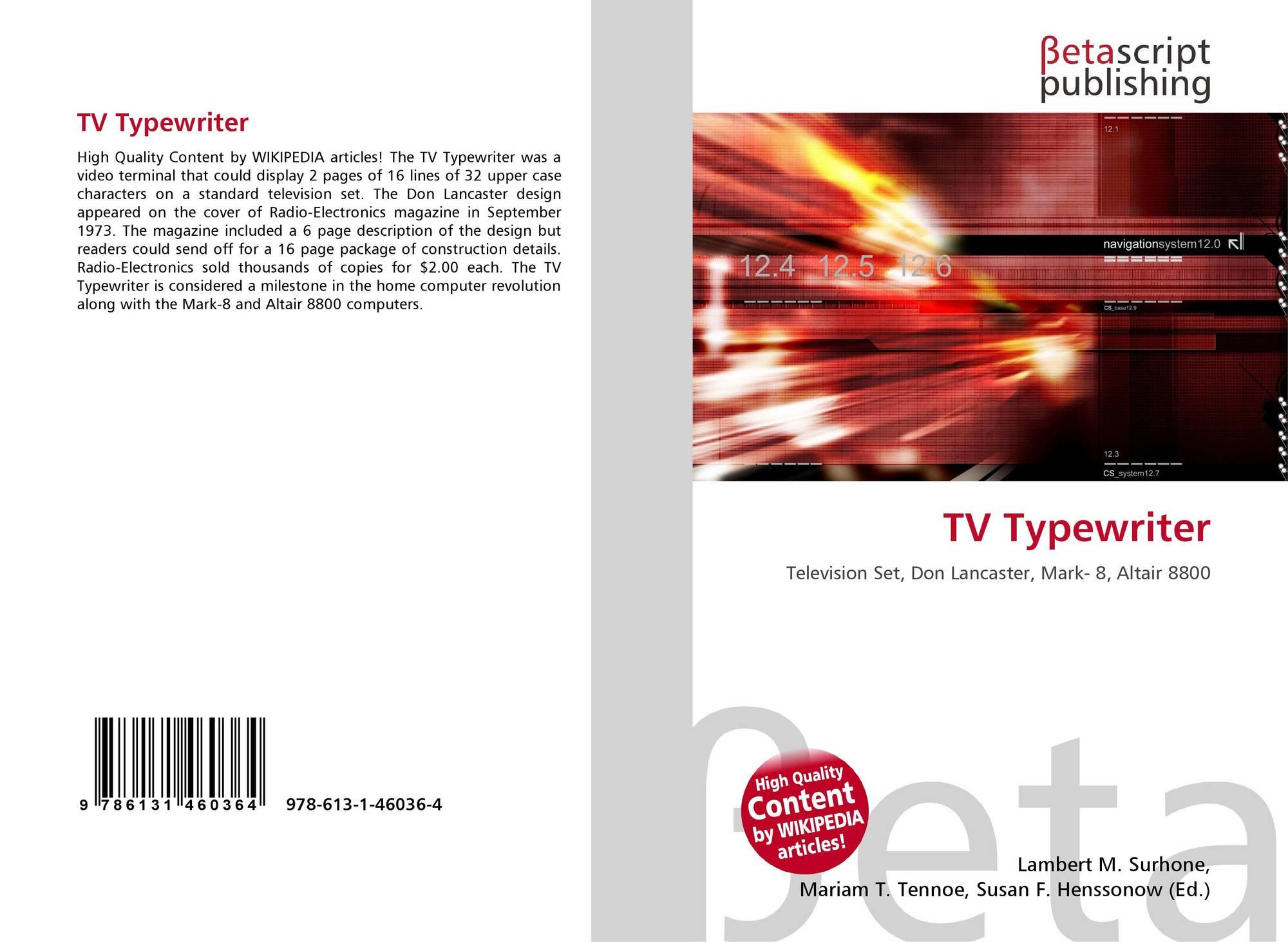 Altair Jarabo Wikipedia tv typewriter, 978-613-1-46036-4, 6131460361 ,9786131460364