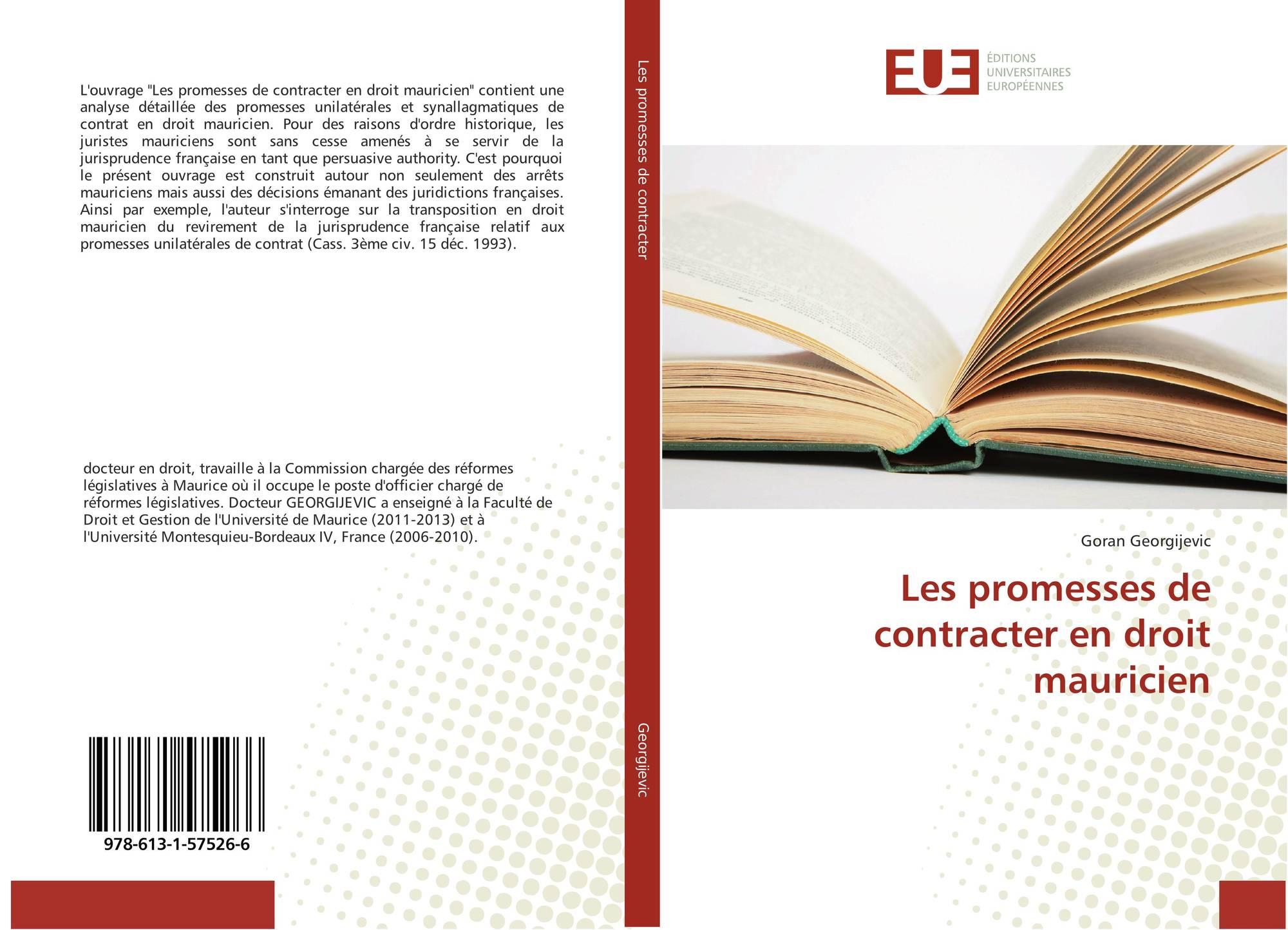 Les Promesses De Contracter En Droit Mauricien 978 613 1 57526 6 6131575266 9786131575266 De Goran Georgijevic