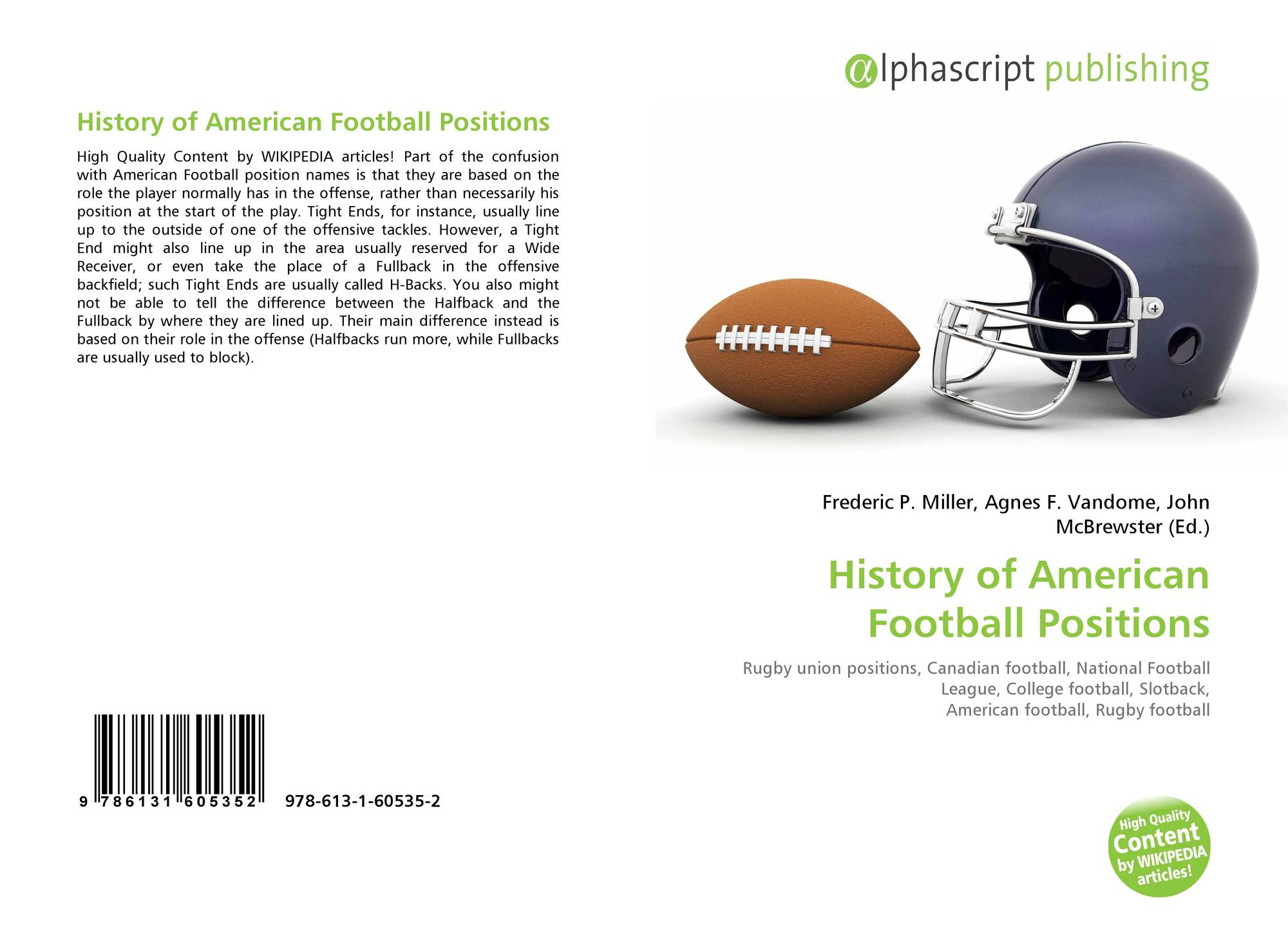 History Of American Football Positions 978 613 1 60535 2