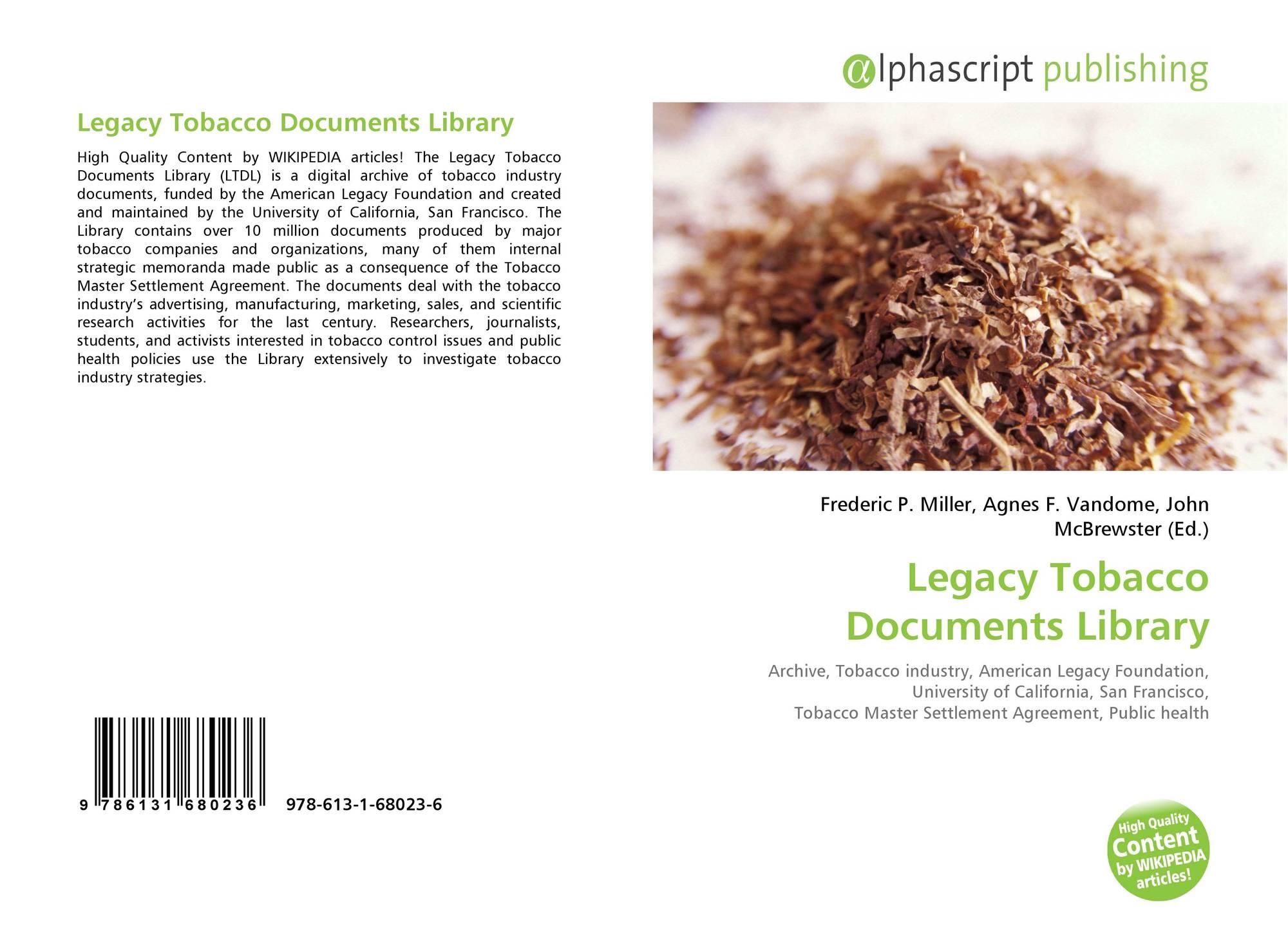 Legacy tobacco documents library 978 613 1 68023 6 613168023x 9786131680236 platinumwayz