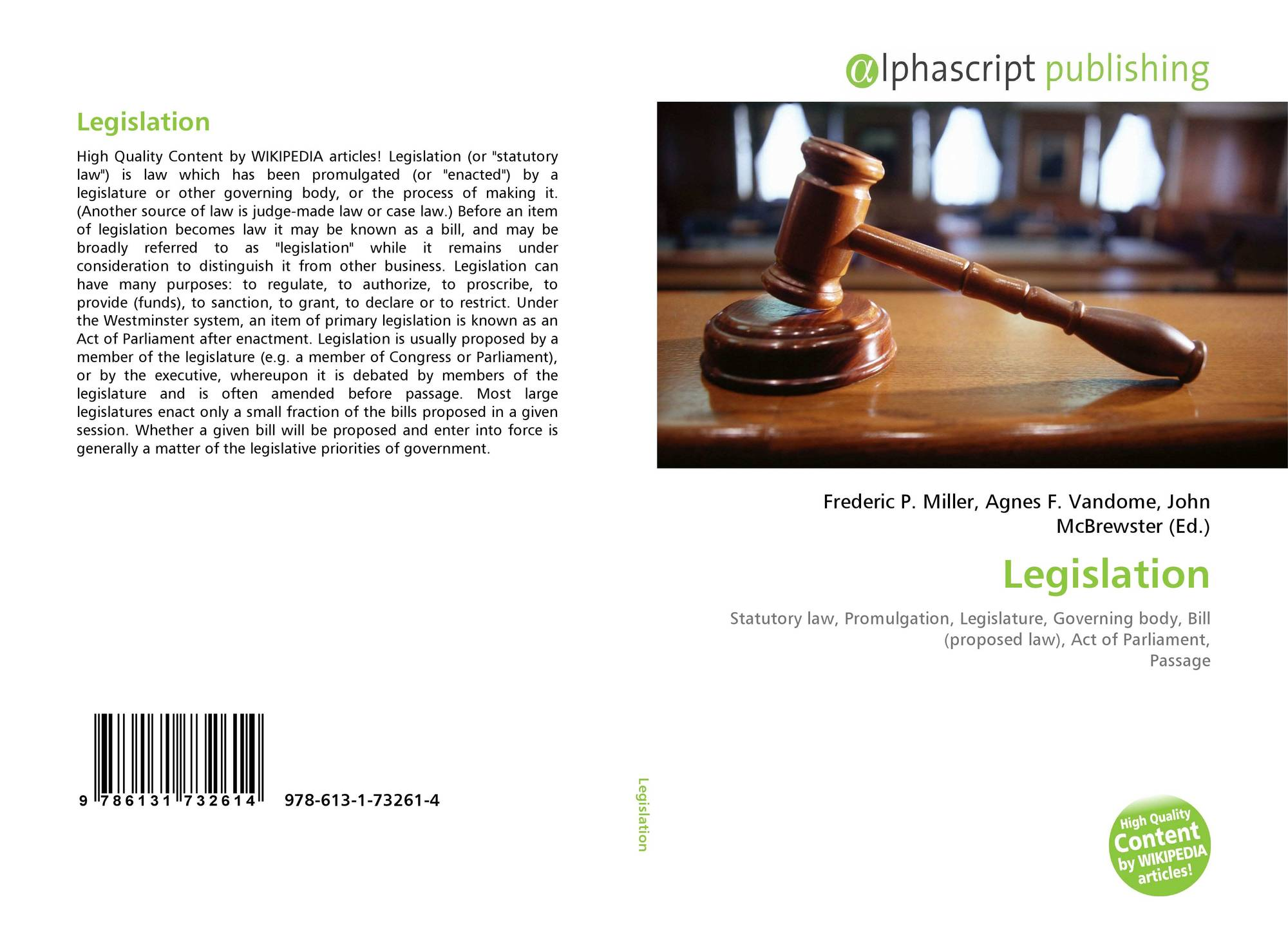 Bookcover of Legislation