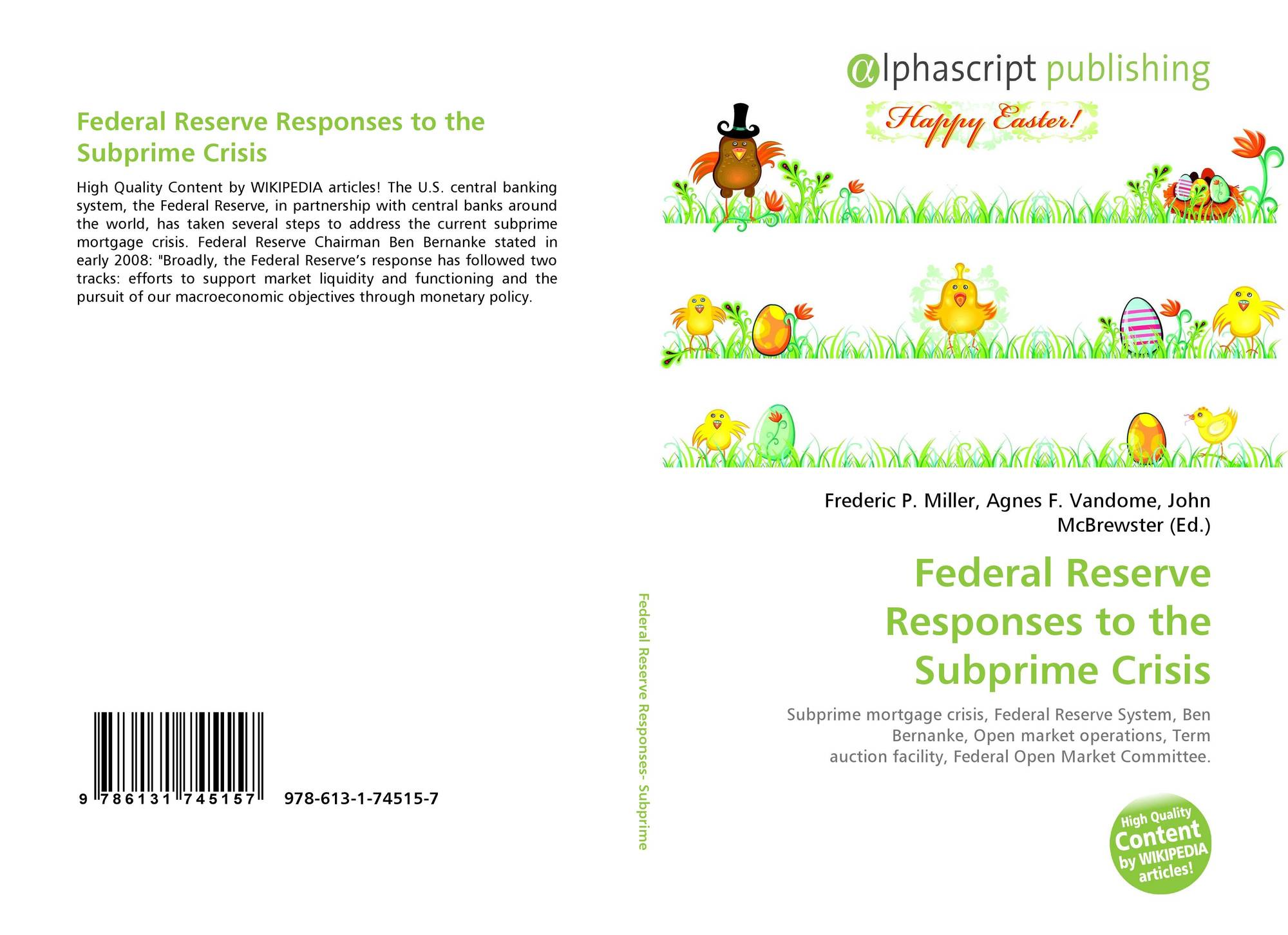 Federal Reserve Responses to the Subprime Crisis, 978-613-1-74515-7