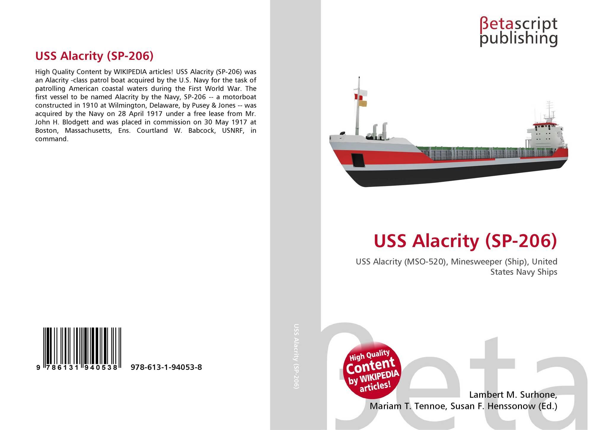 USS Alacrity (SP-206), 978-613-1-94053-8, 6131940533 ,9786131940538