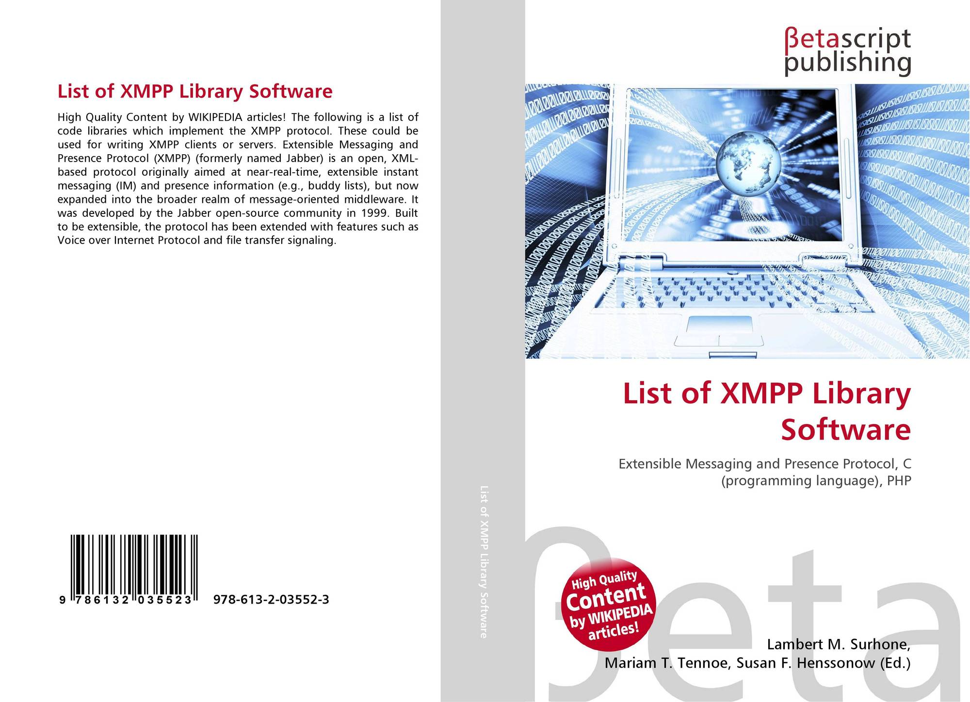 List of XMPP Library Software, 978-613-2-03552-3, 6132035524