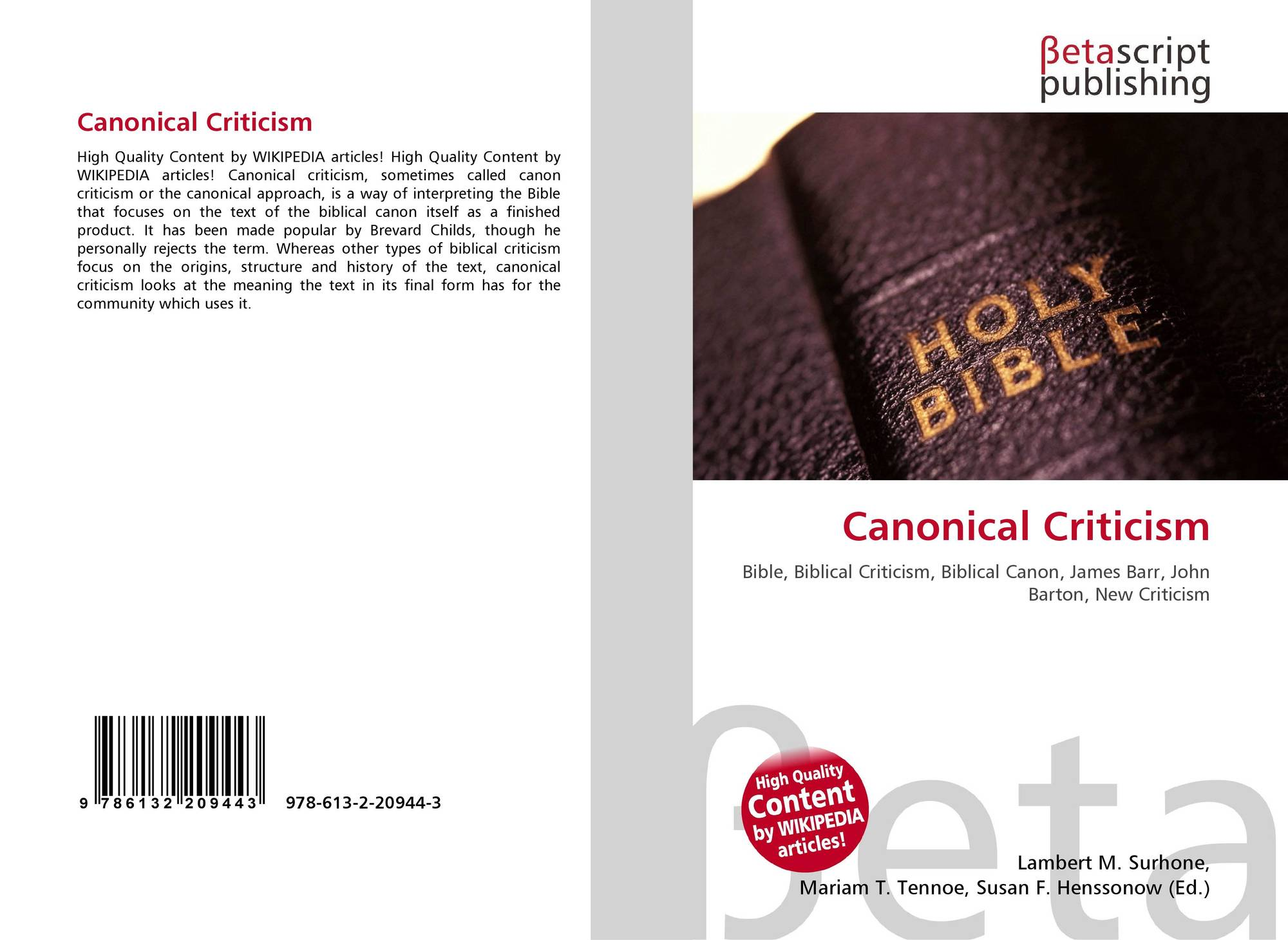 search results for weaknesses of canonical approach bookcover of canonical criticism