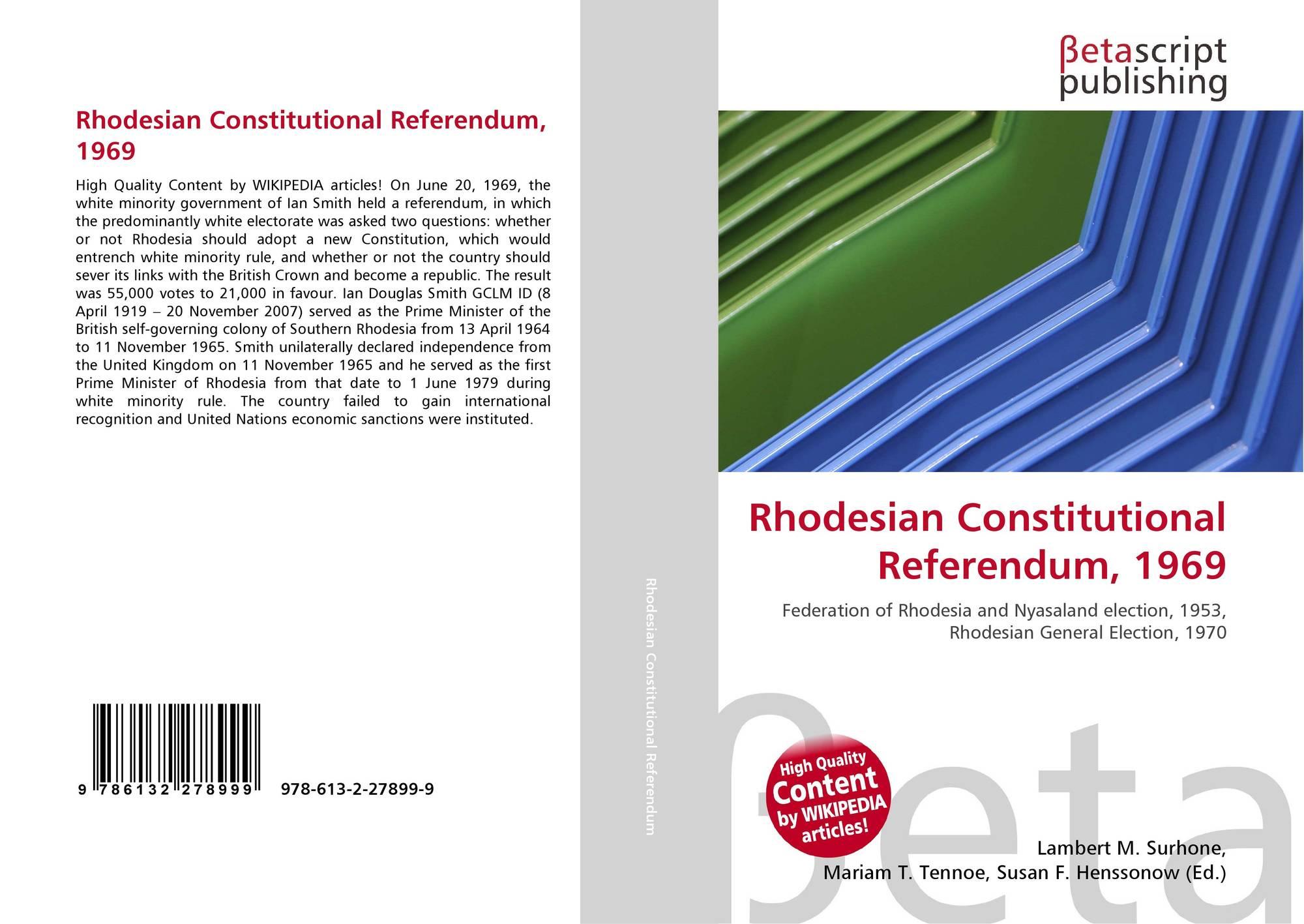 Rhodesian Constitutional Referendum 1969 978 613 2 27899 9