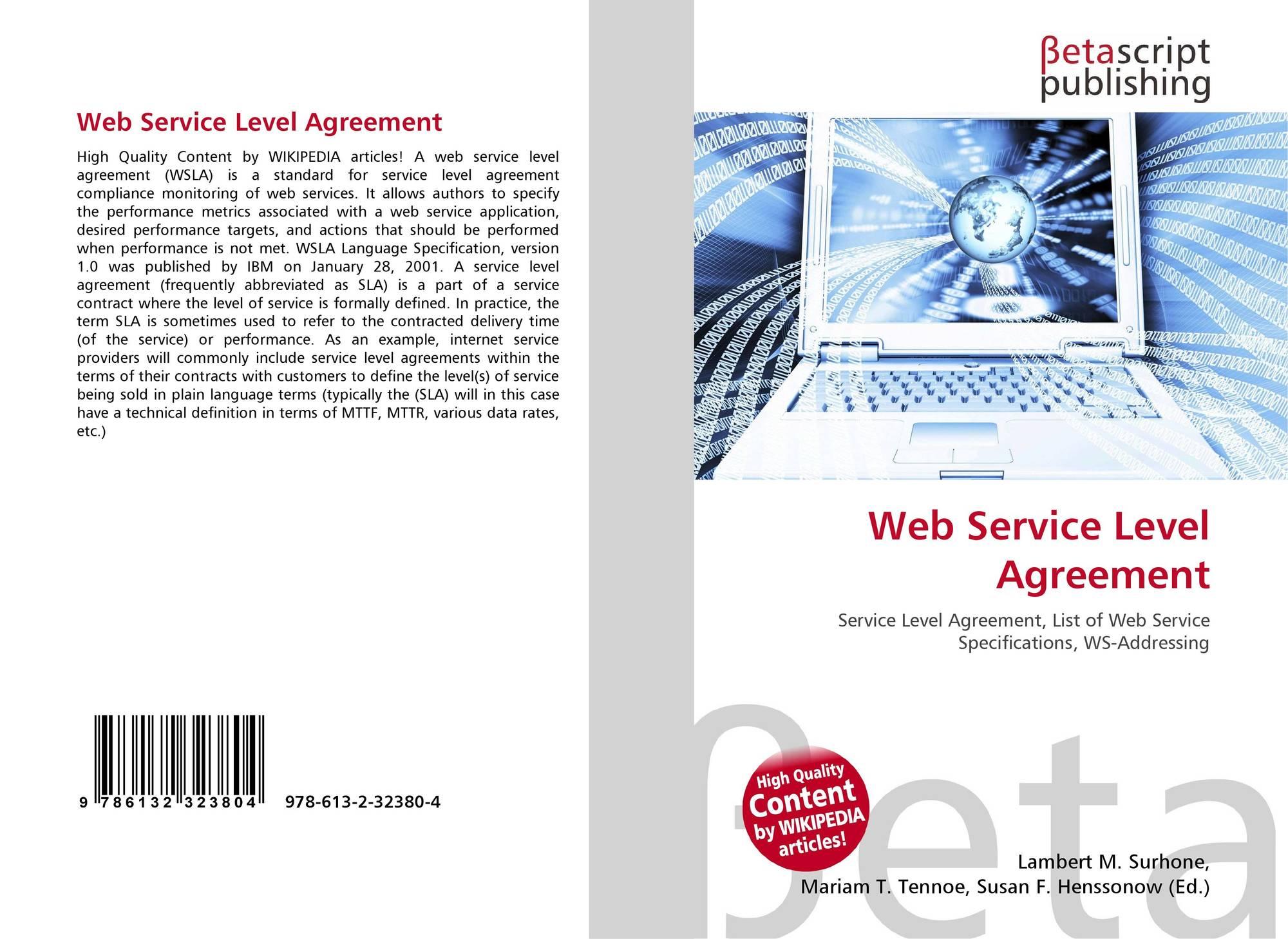 Web Service Level Agreement 978 613 2 32380 4 6132323805