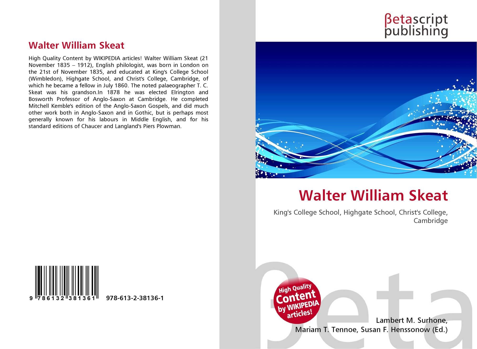 Walter William Sache: 所有类别 语言学和文学