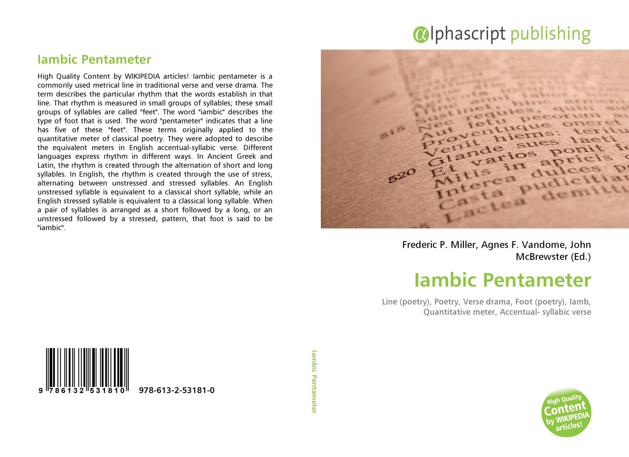 Iambic Pentameter 978 613 2 53181 0 6132531815 9786132531810