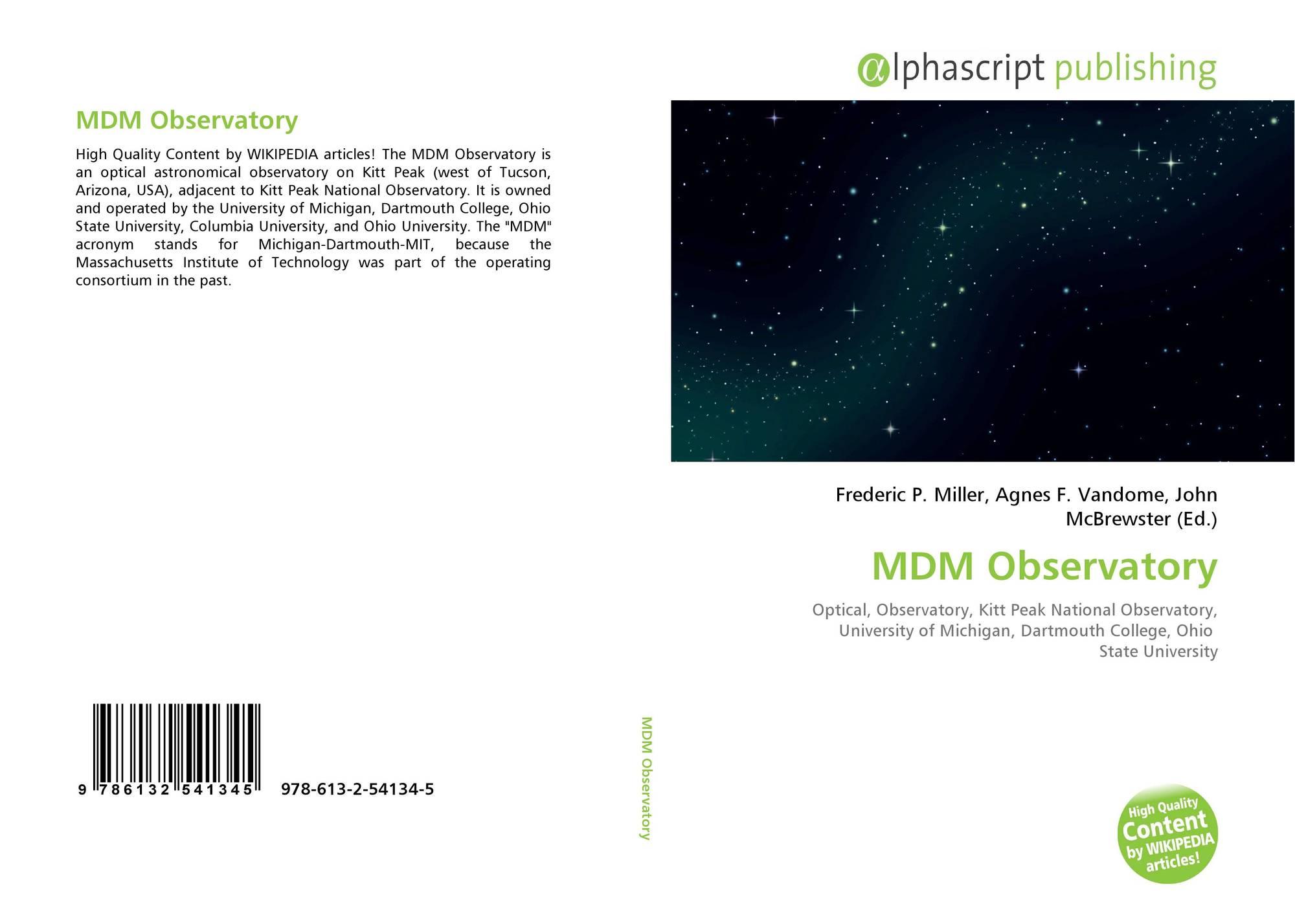 MDM Observatory, 978-613-2-54134-5, 6132541349 ,9786132541345