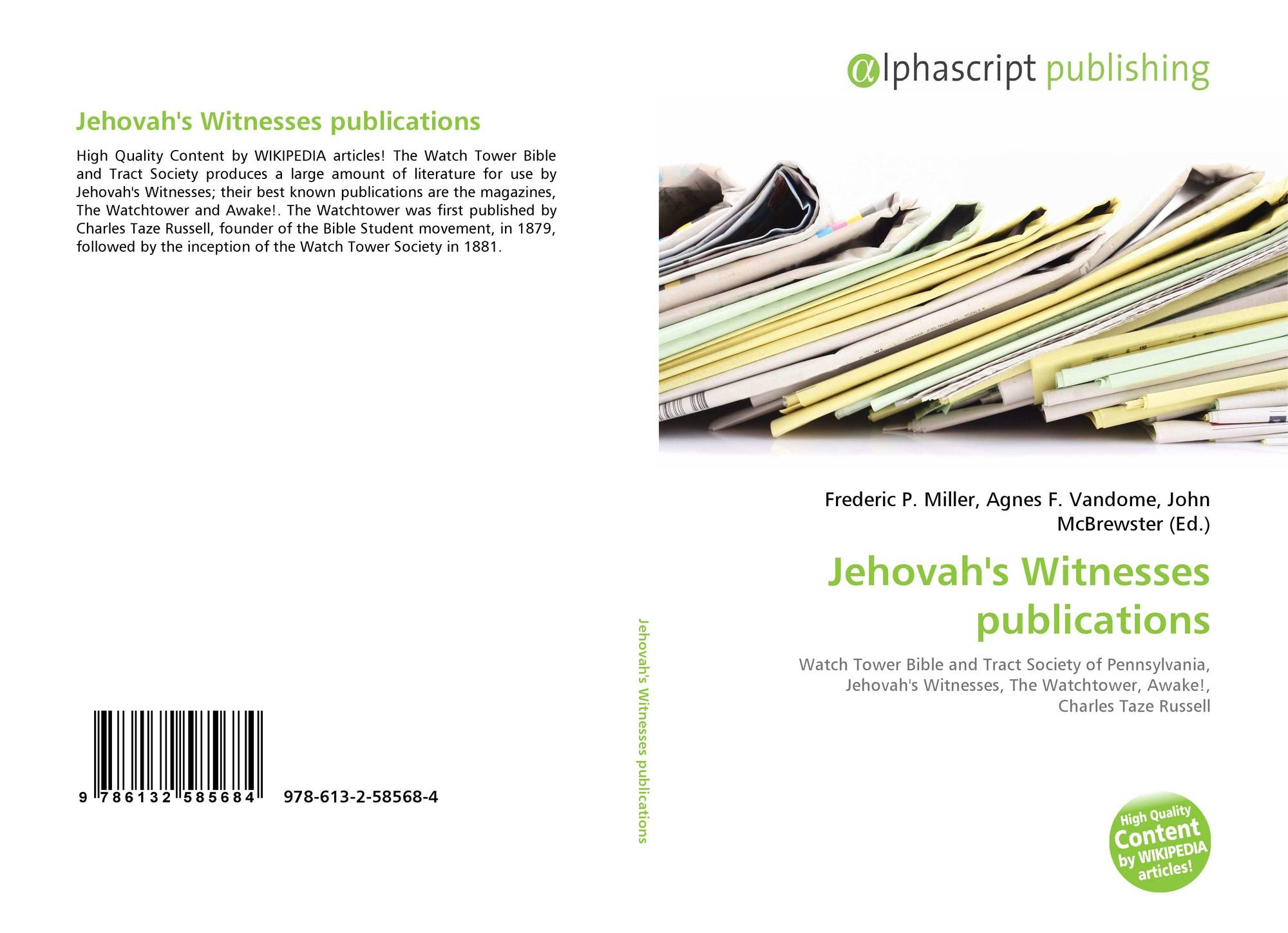 Jehovah's Witnesses publications, 978-613-2-58568-4, 6132585680