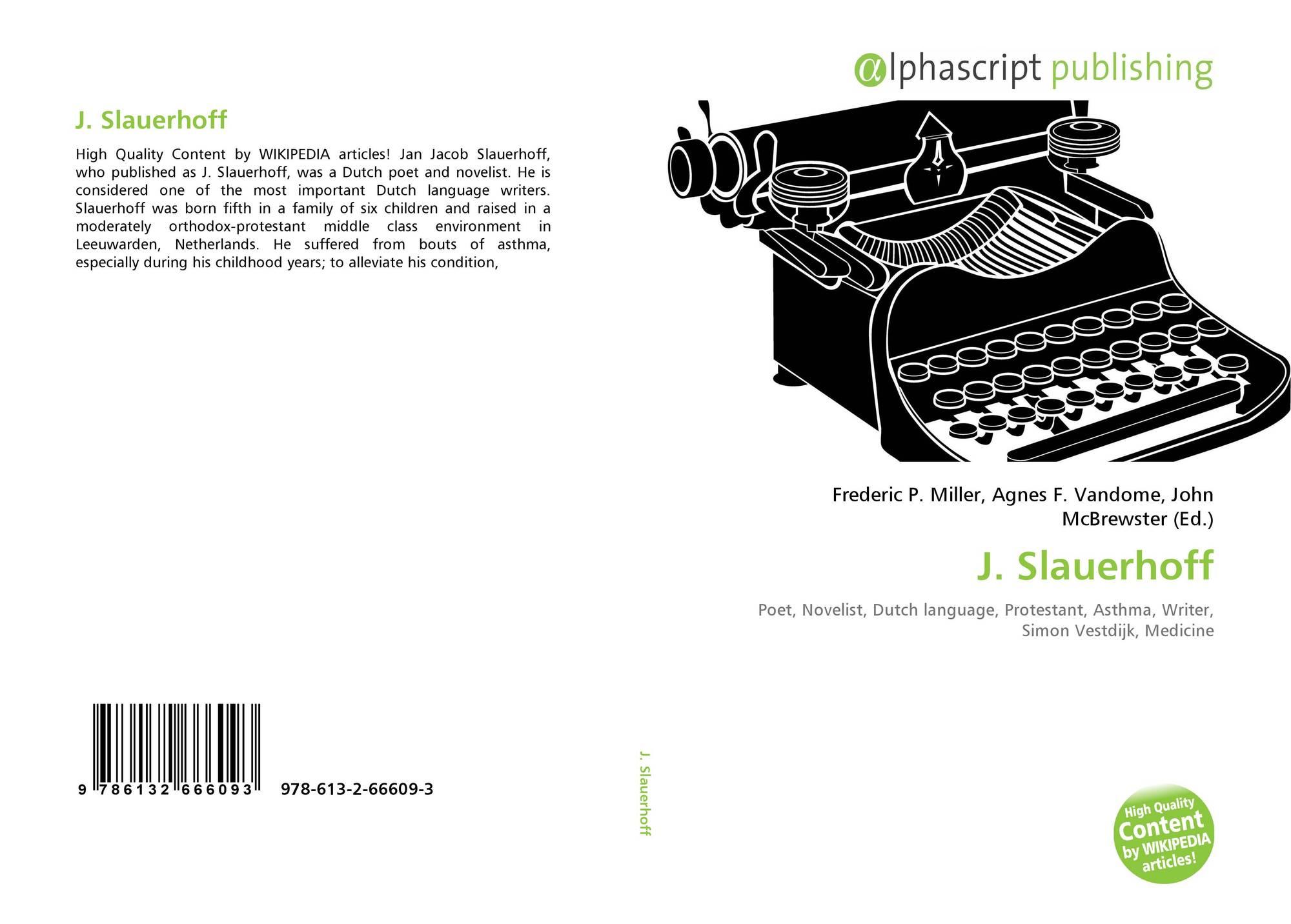 J Slauerhoff 978 613 2 66609 3 6132666095 9786132666093