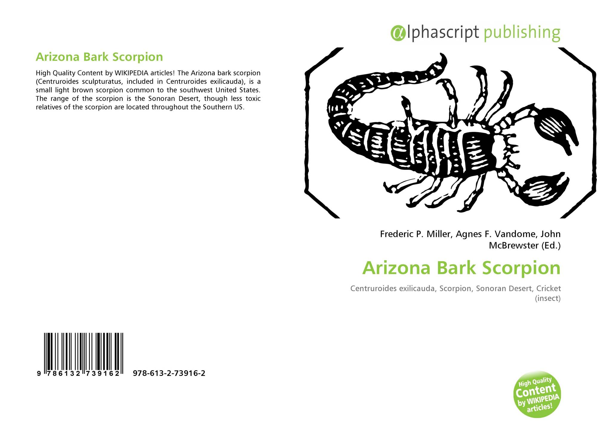 Arizona Bark Scorpion, 978-613-2-73916-2, 6132739165