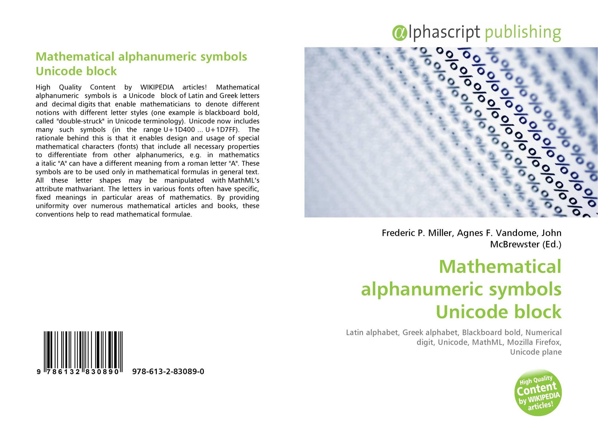 Mathematical Alphanumeric Symbols Unicode Block 978 613 2 83089 0