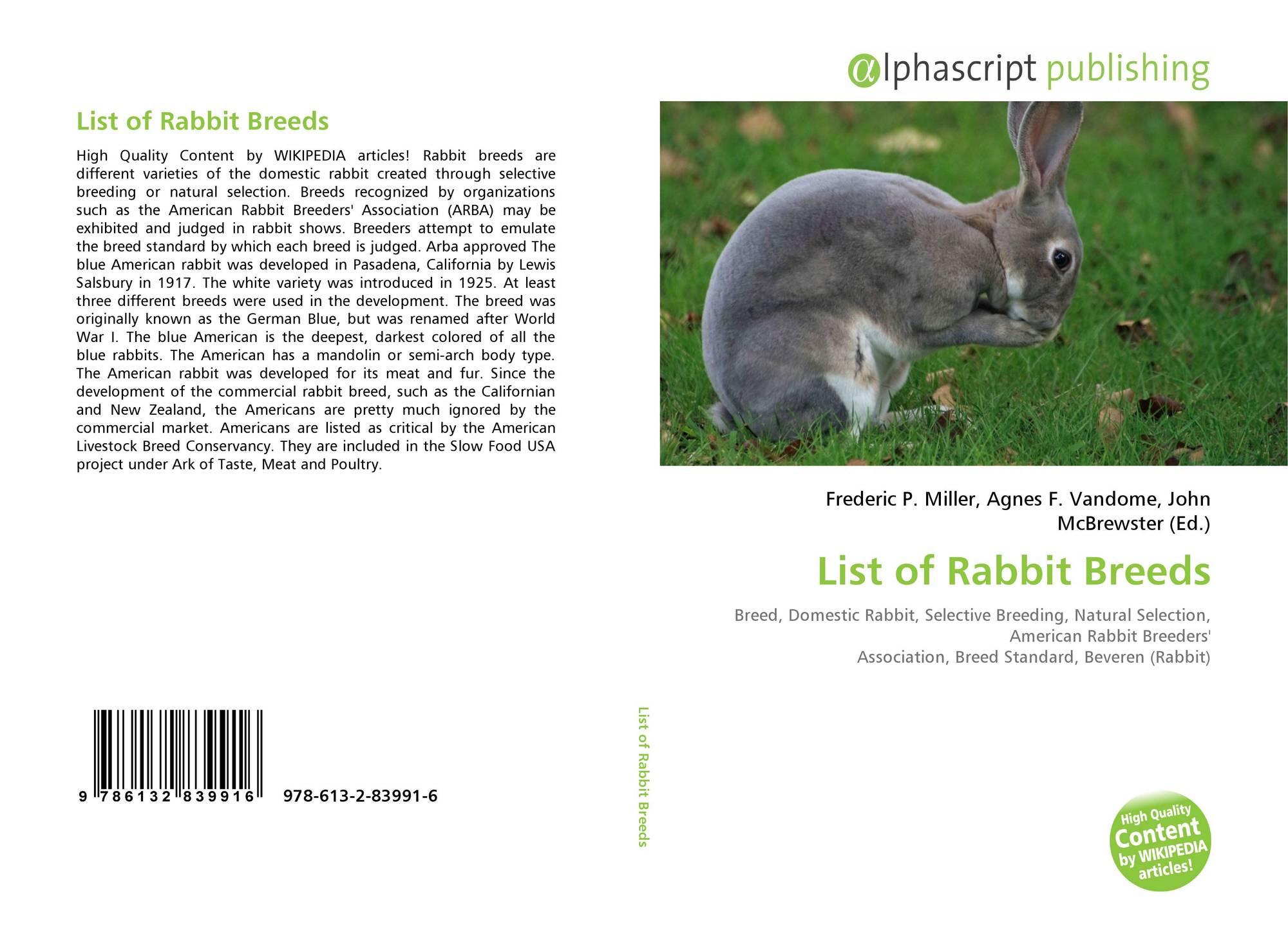 List of Rabbit Breeds, 978-613-2-83991-6, 6132839917