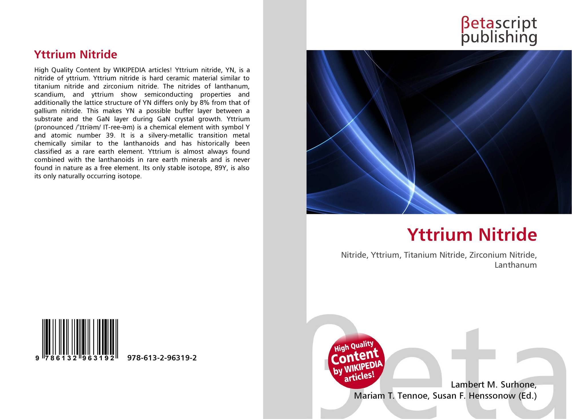 Yttrium Nitride 978 613 2 96319 2 6132963197 9786132963192