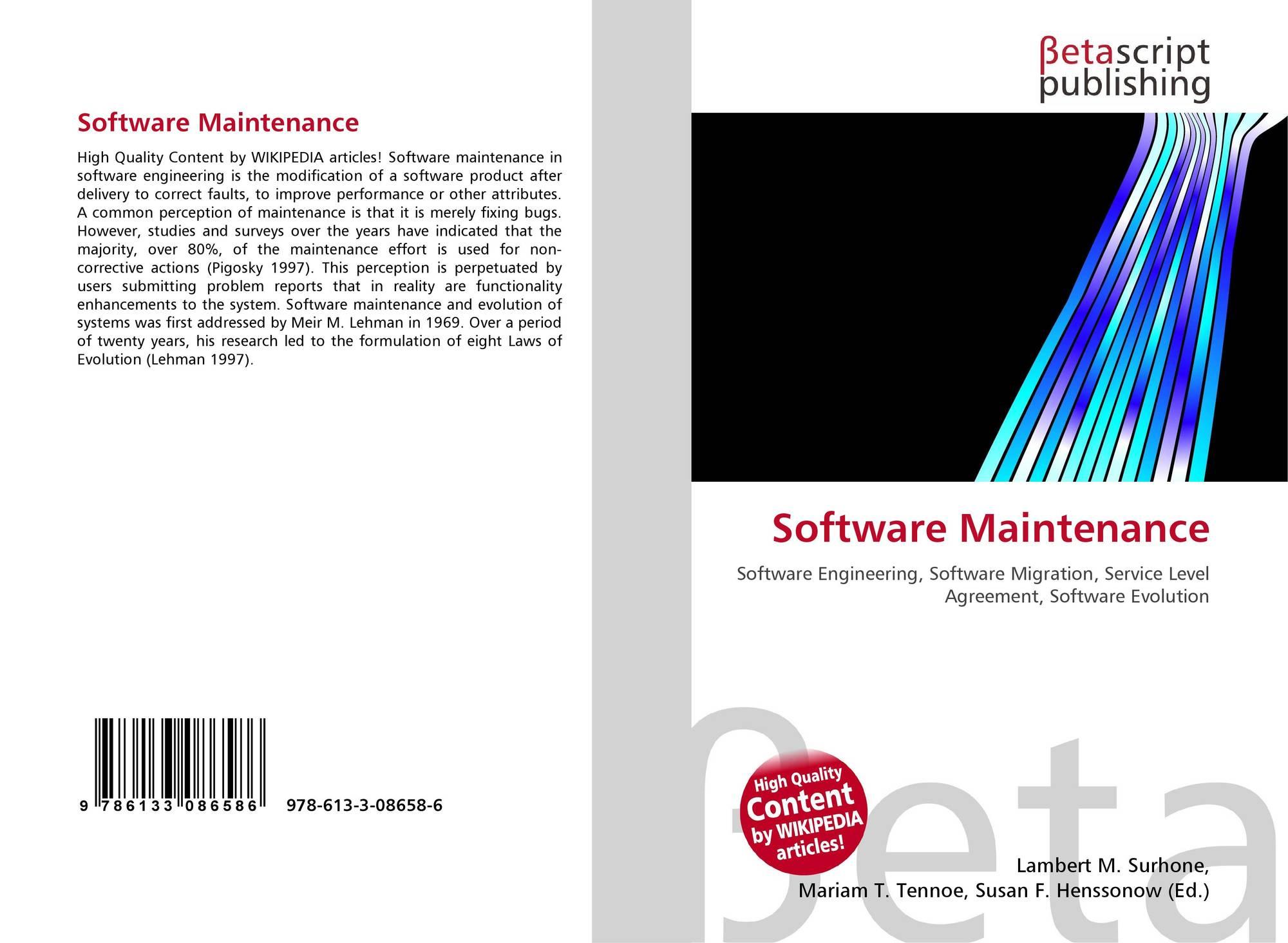 Software Maintenance 978 613 3 08658 6 6133086580 9786133086586