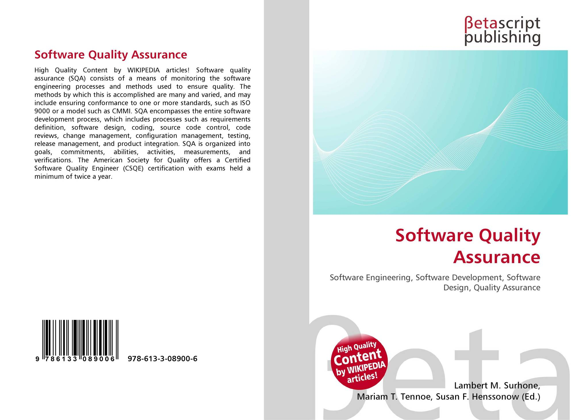 Software Quality Assurance 978 613 3 08900 6 6133089008 9786133089006