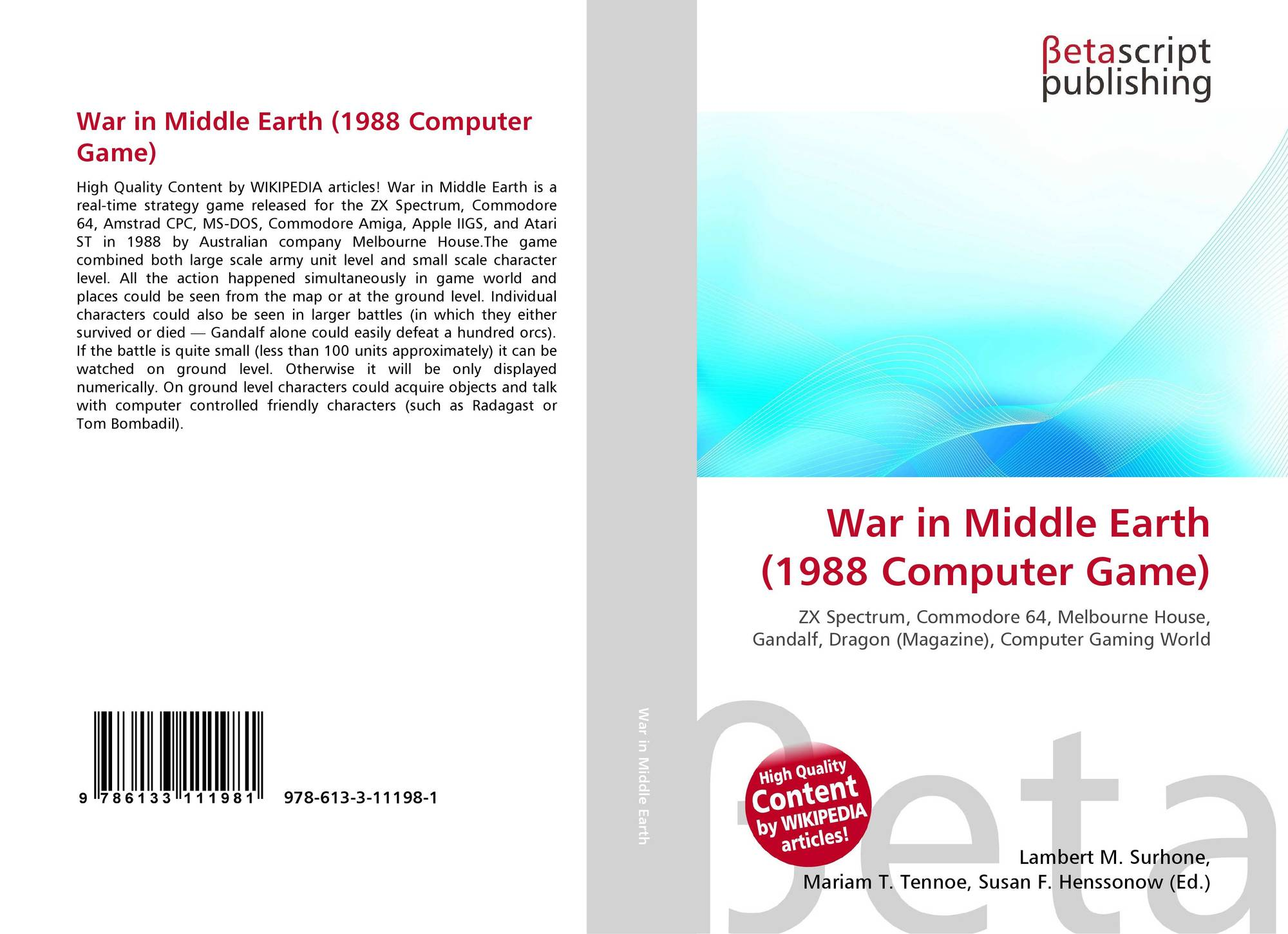 War in Middle Earth (1988 Computer Game), 978-613-3-11198-1