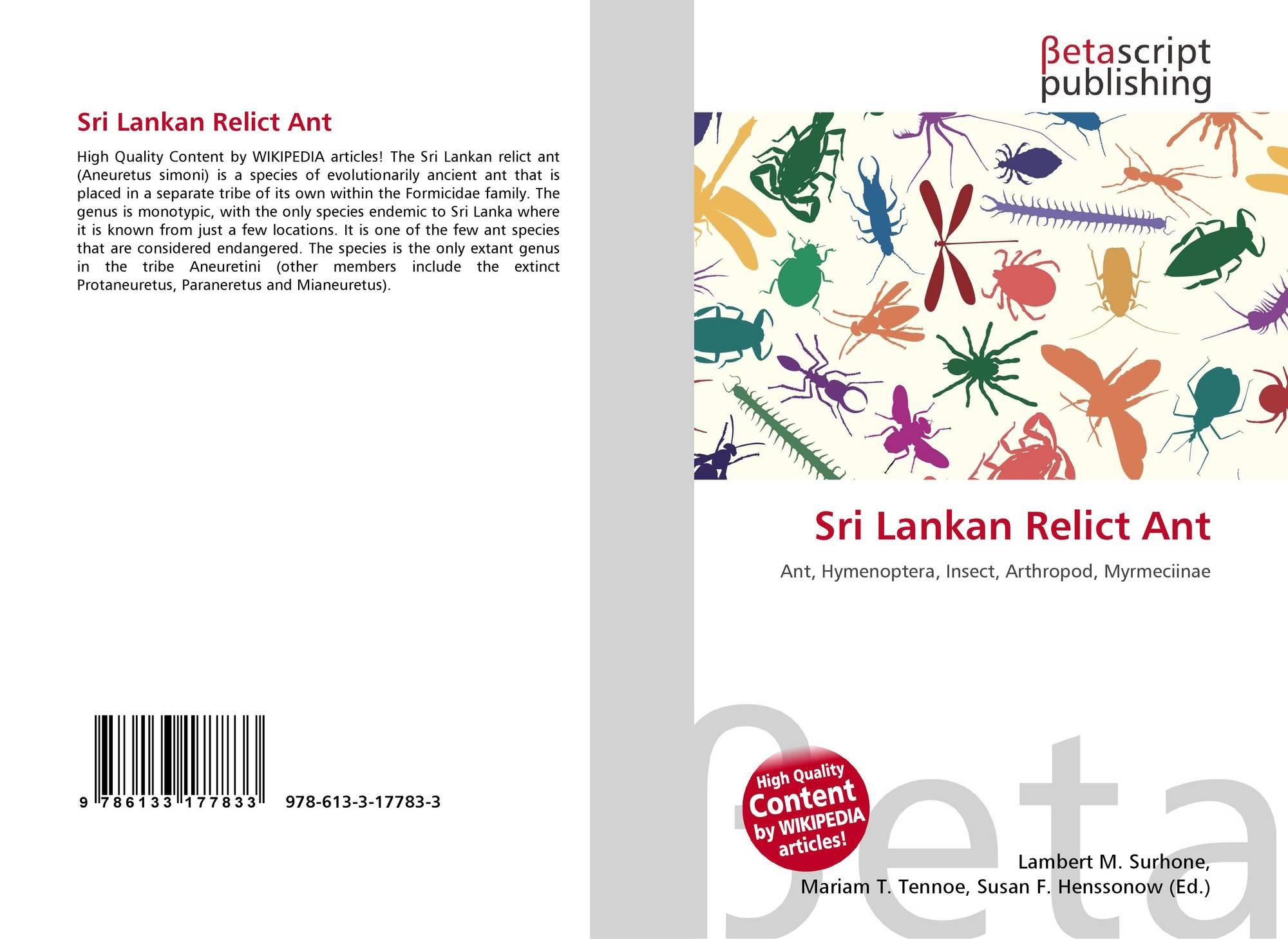 Sri Lankan Relict Ant, 978-613-3-17783-3, 6133177837 ,9786133177833