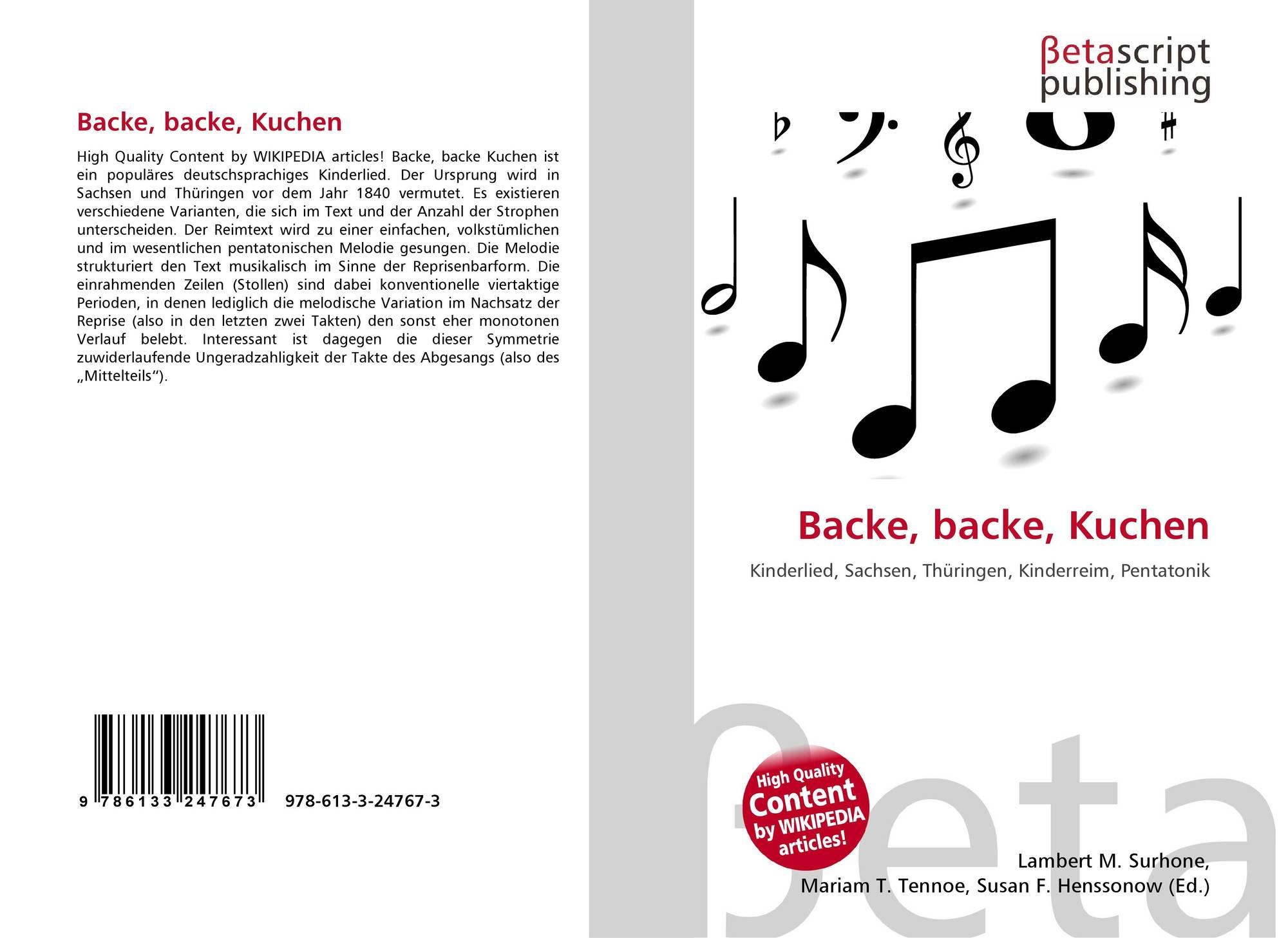 Backe Backe Kuchen 978 613 3 24767 3 6133247673 9786133247673