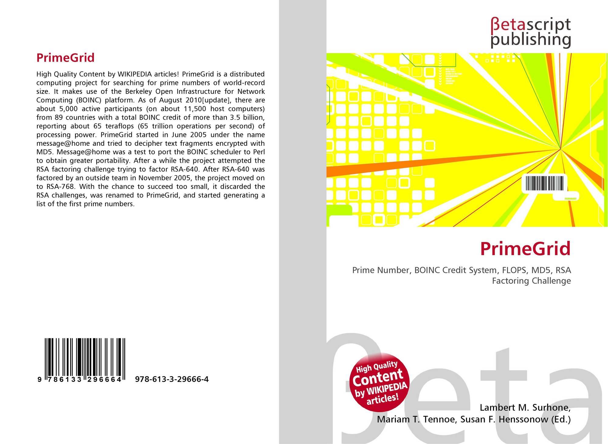 PrimeGrid, 978-613-3-29666-4, ...