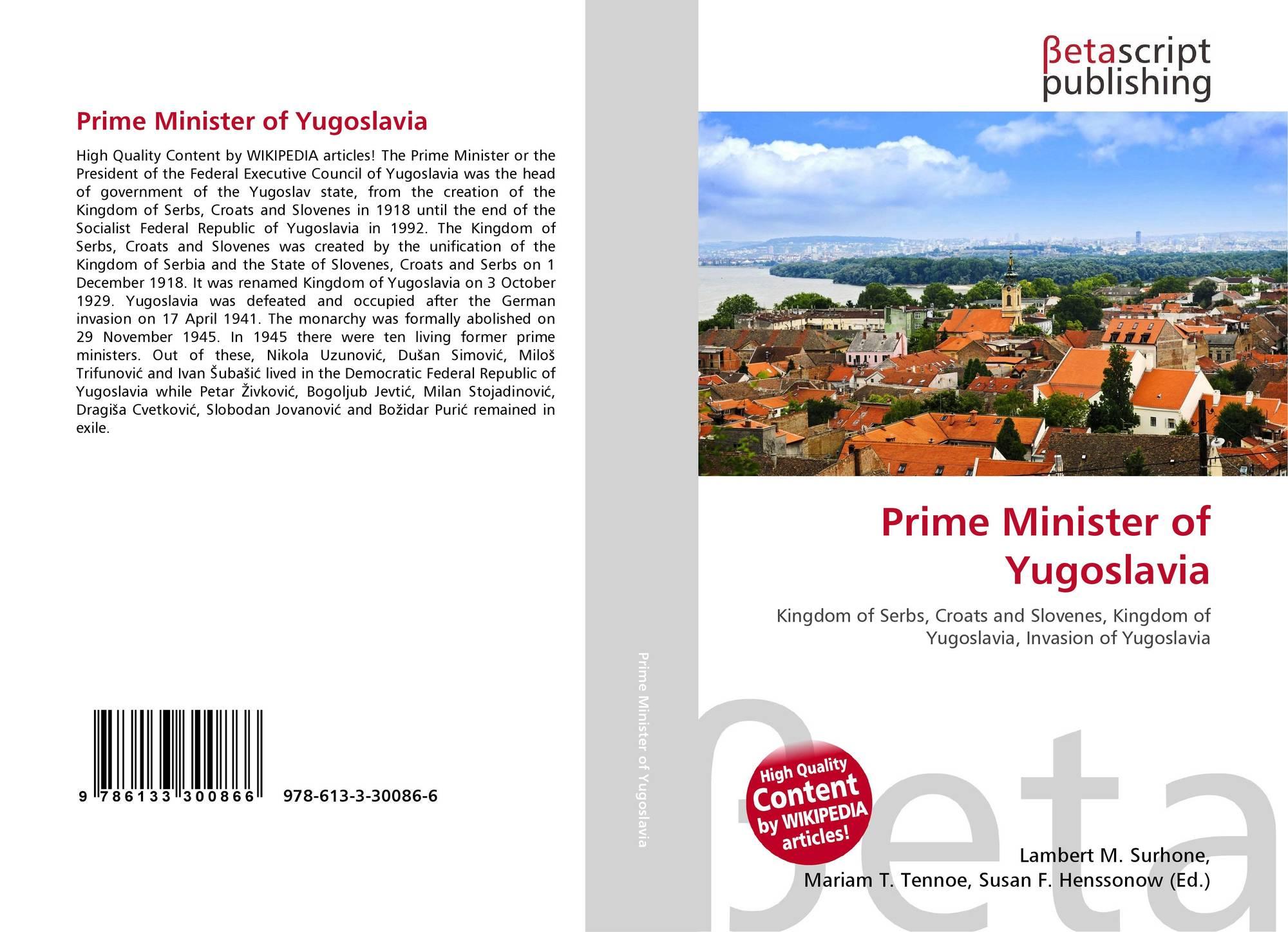 Bookcover of Prime Minister of Yugoslavia
