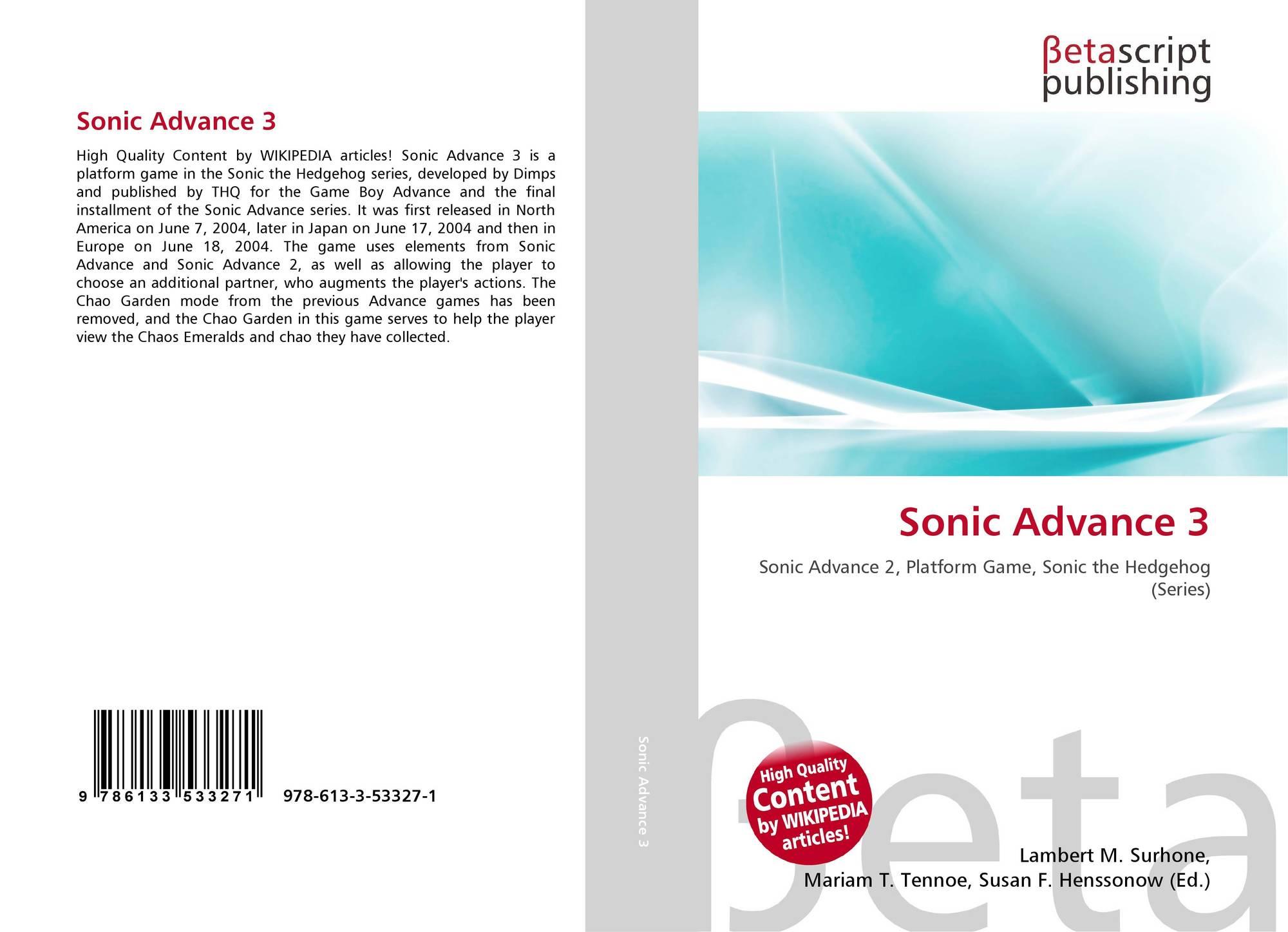 Sonic Advance 3, 978-613-3-53327-1, 6133533277 ,9786133533271