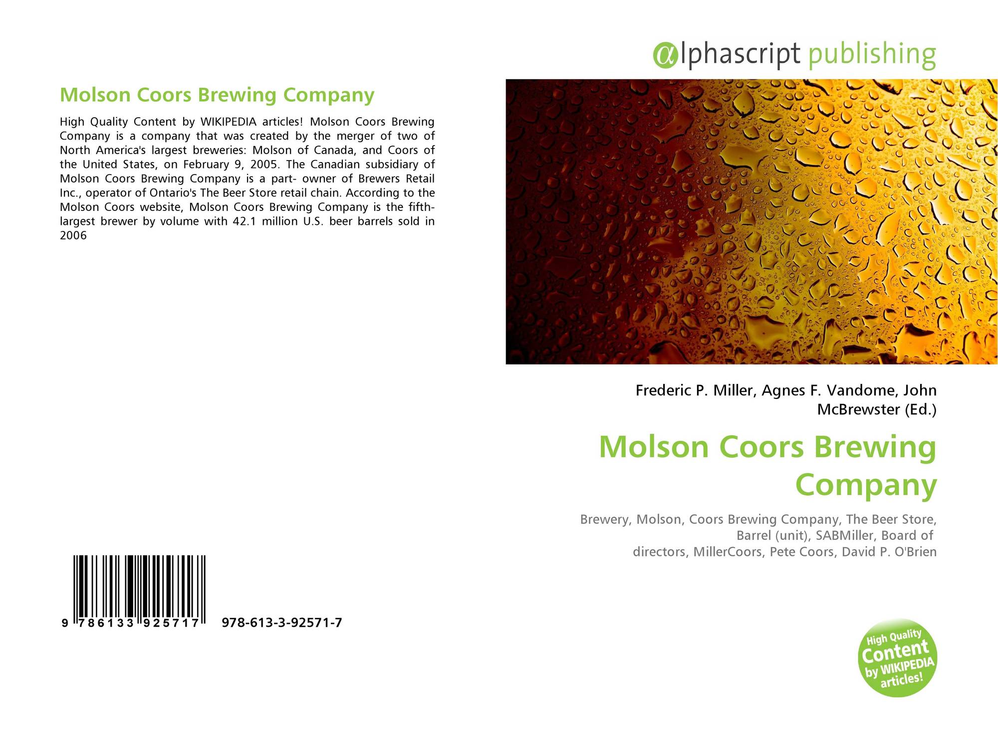 company analysis report molson coors brewing