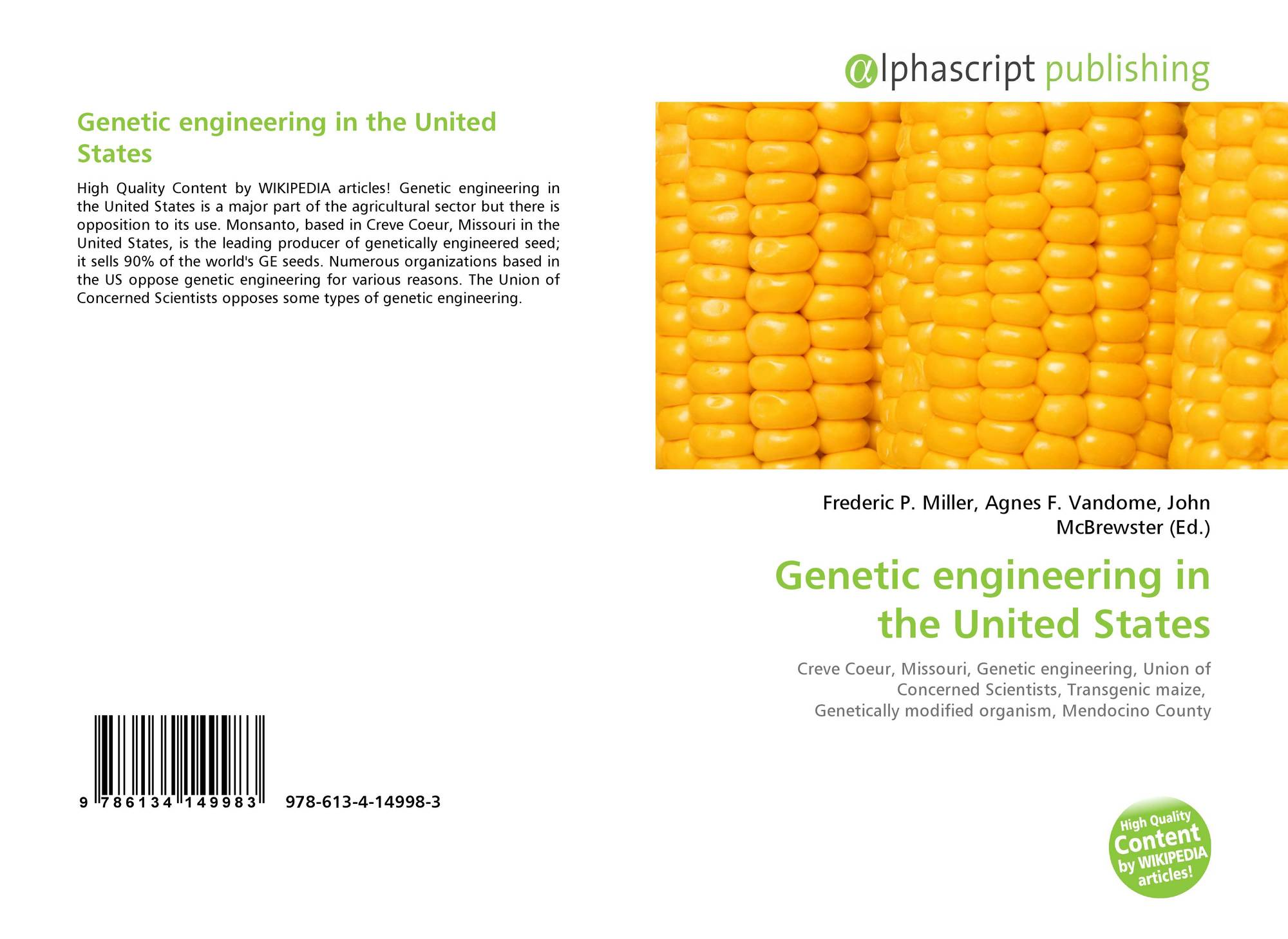 Genetic engineering wikipedia - Bookcover Of Genetic Engineering In The United States