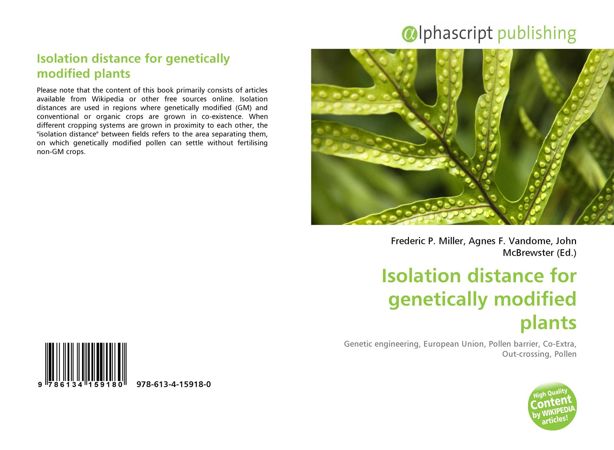 Genetic engineering wikipedia - Bookcover Of Isolation Distance For Genetically Modified Plants