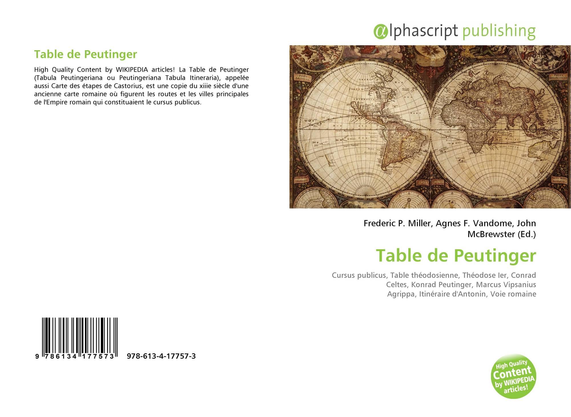 Table De Peutinger 978 613 4 17757 3 6134177571 9786134177573