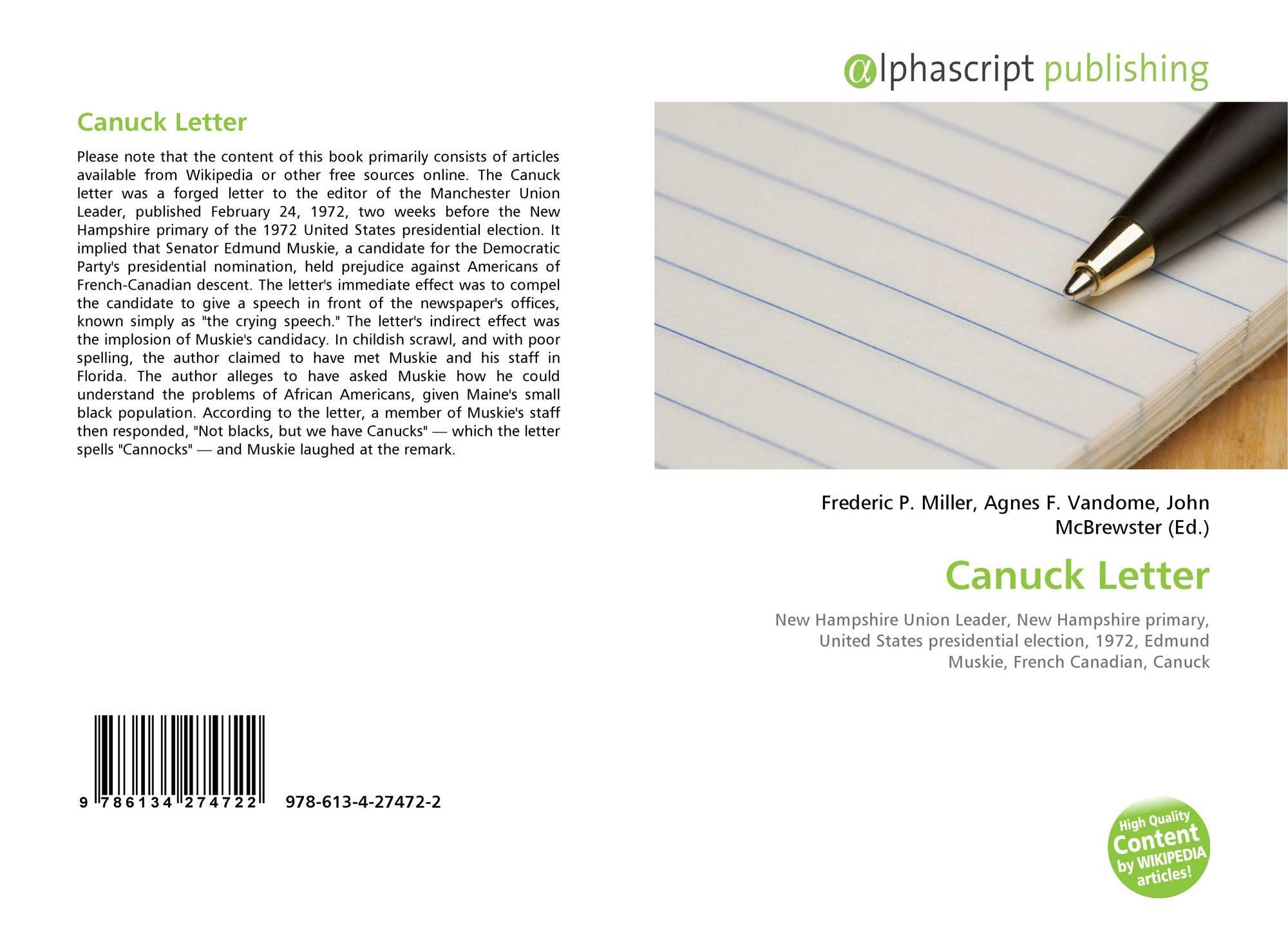 Canuck Letter, 978 613 4 27472 2, 6134274720 ,9786134274722