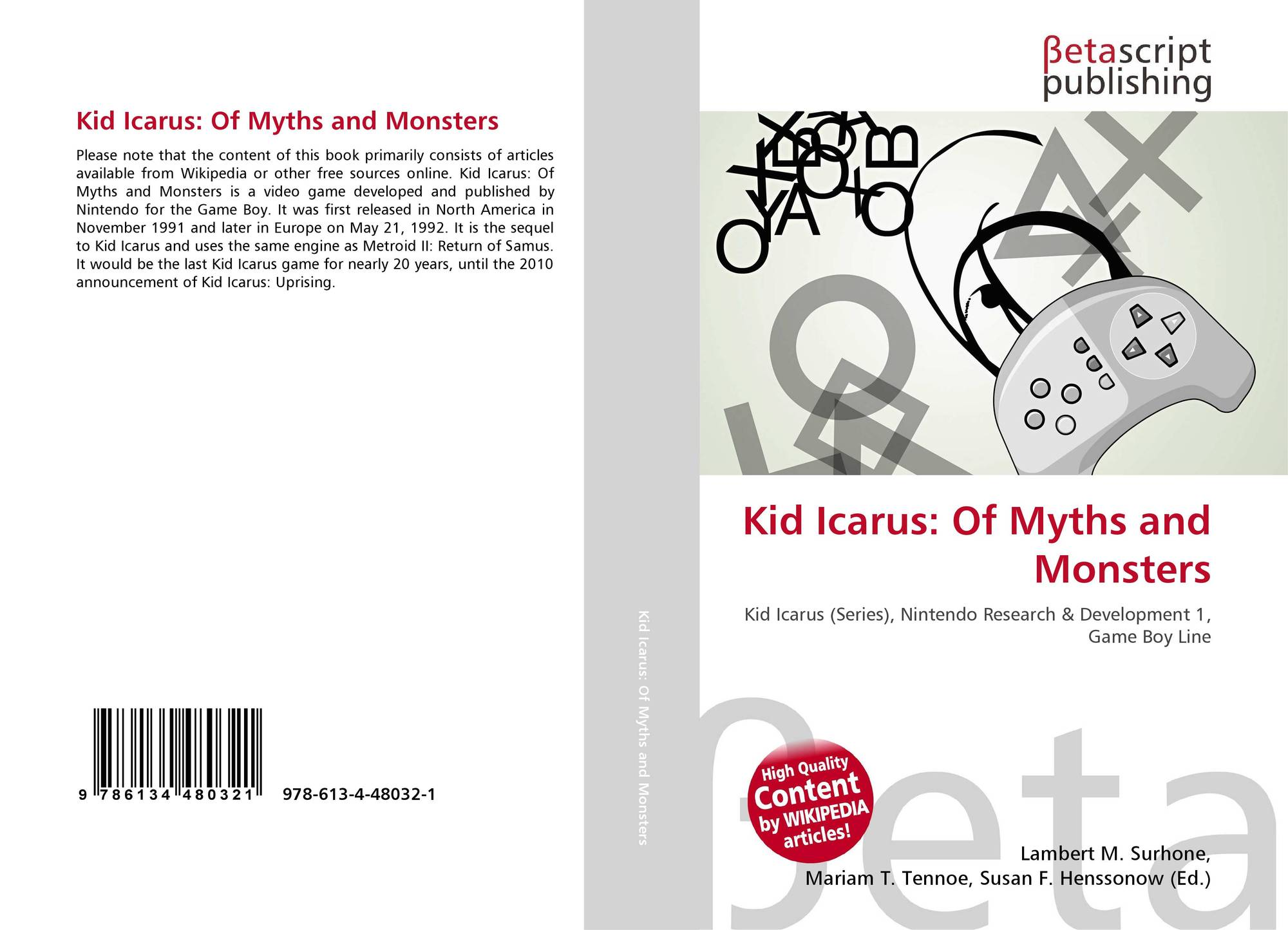 Bookcover Of Kid Icarus Myths And Monsters 9786134480321
