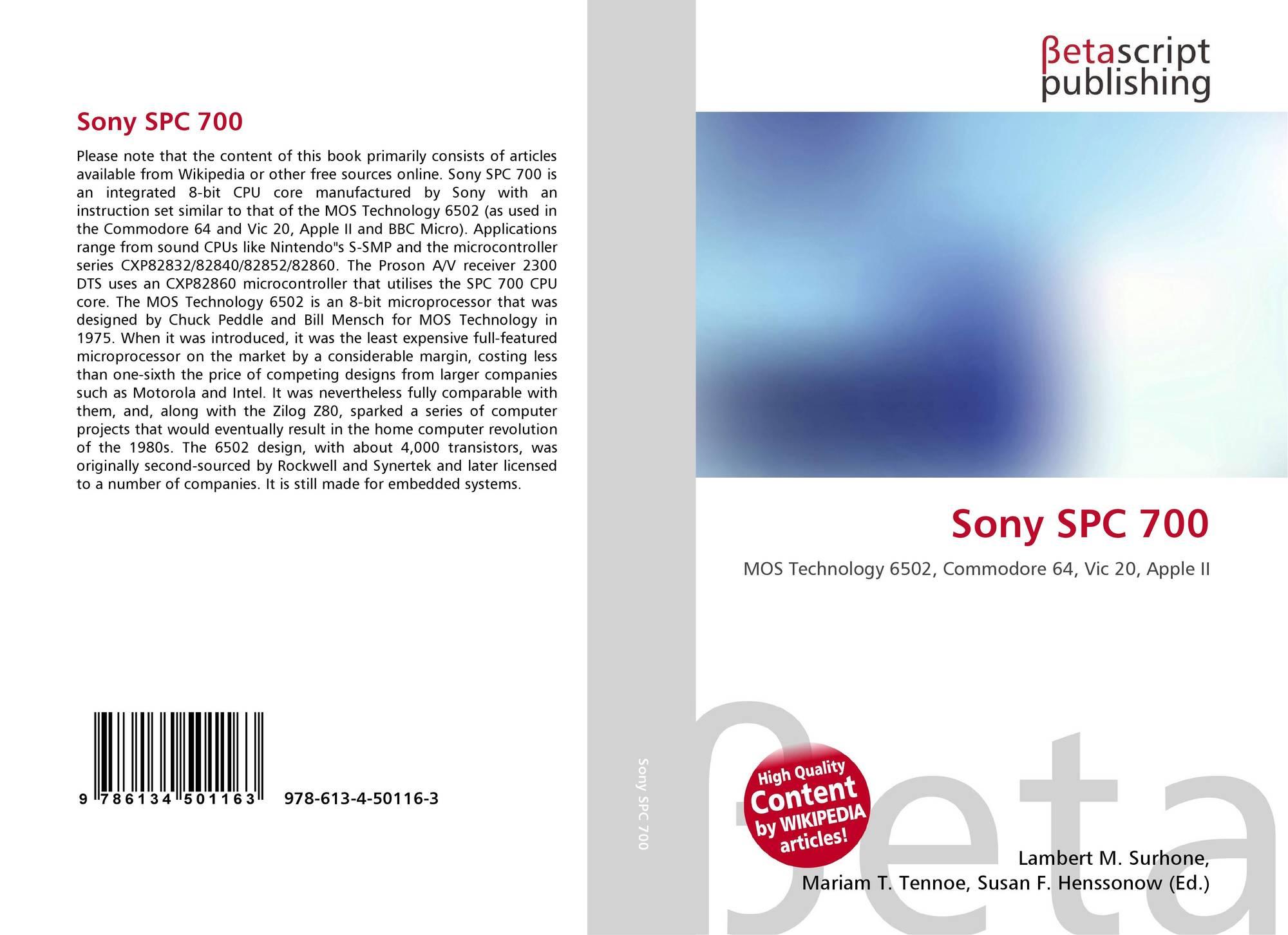 Sony SPC 700, 978-613-4-50116-3, 6134501166 ,9786134501163