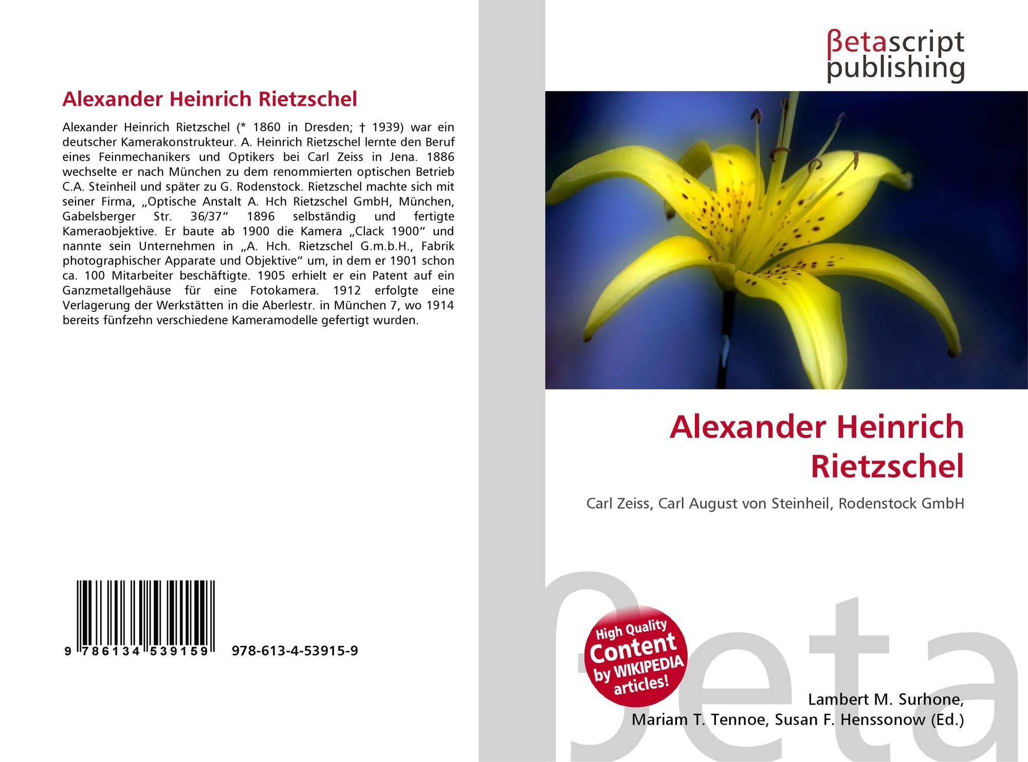 Alexander heinrich rietzschel 978 613 4 53915 9 for Alexander heinrich