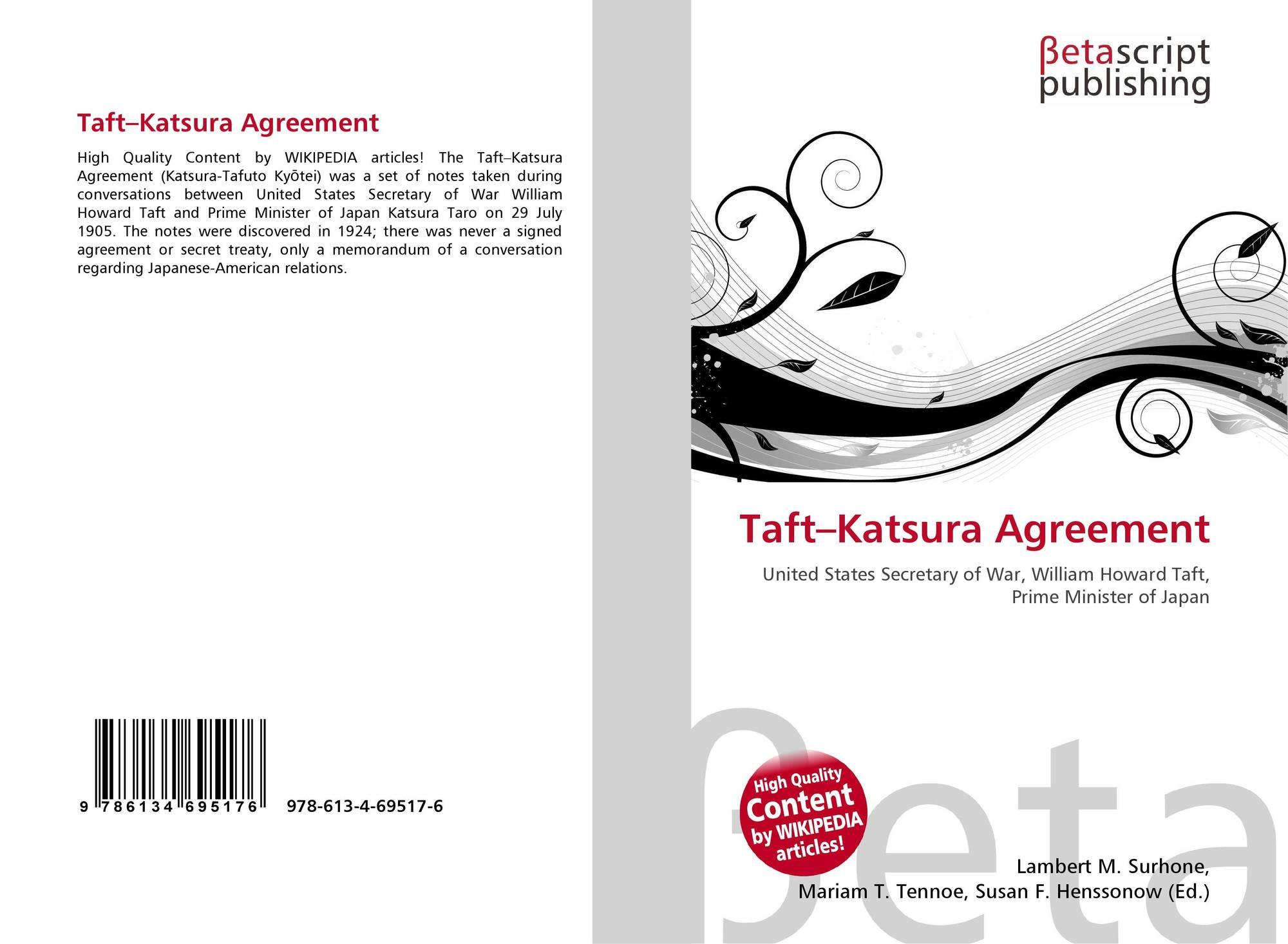 Taftkatsura Agreement 978 613 4 69517 6 6134695173 9786134695176