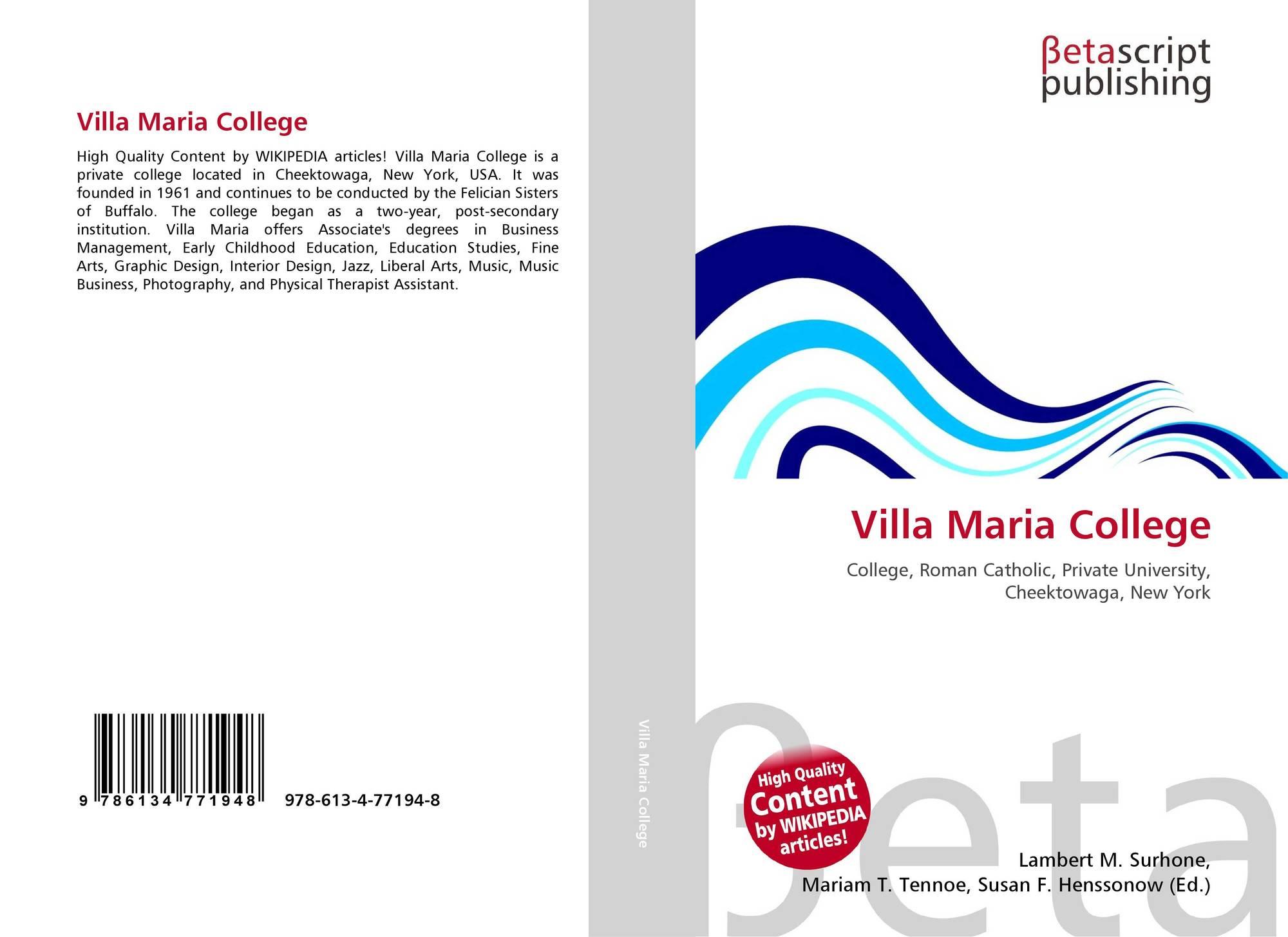 Villa Maria College, 978-613-4-77194-8, 6134771945 ,9786134771948
