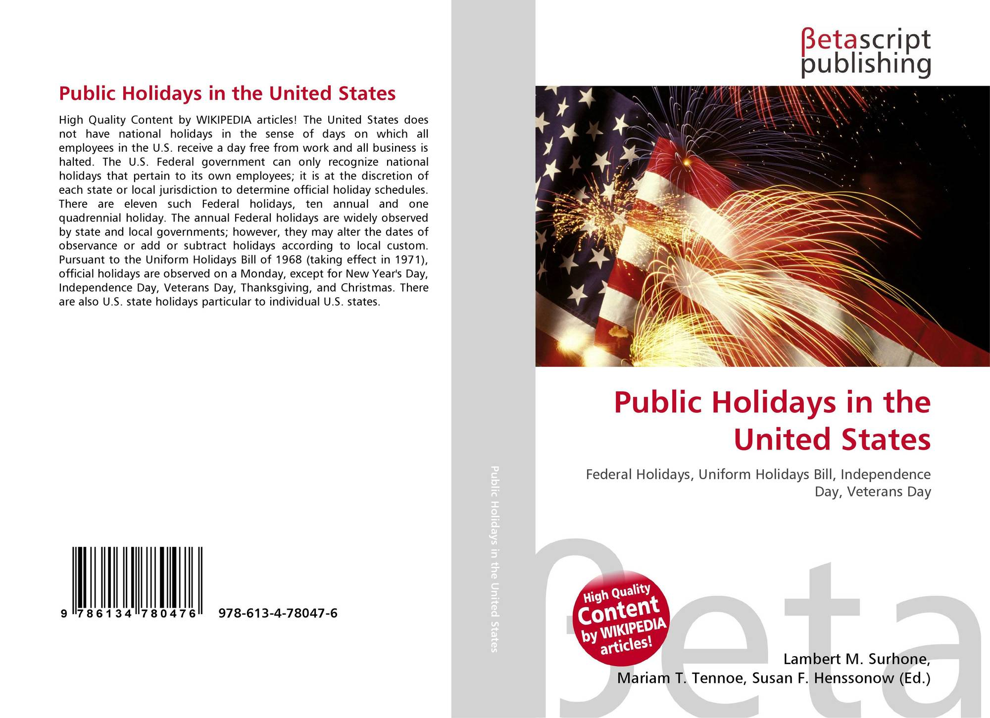 30e89c9799ba Bookcover of Public Holidays in the United States. 9786134780476