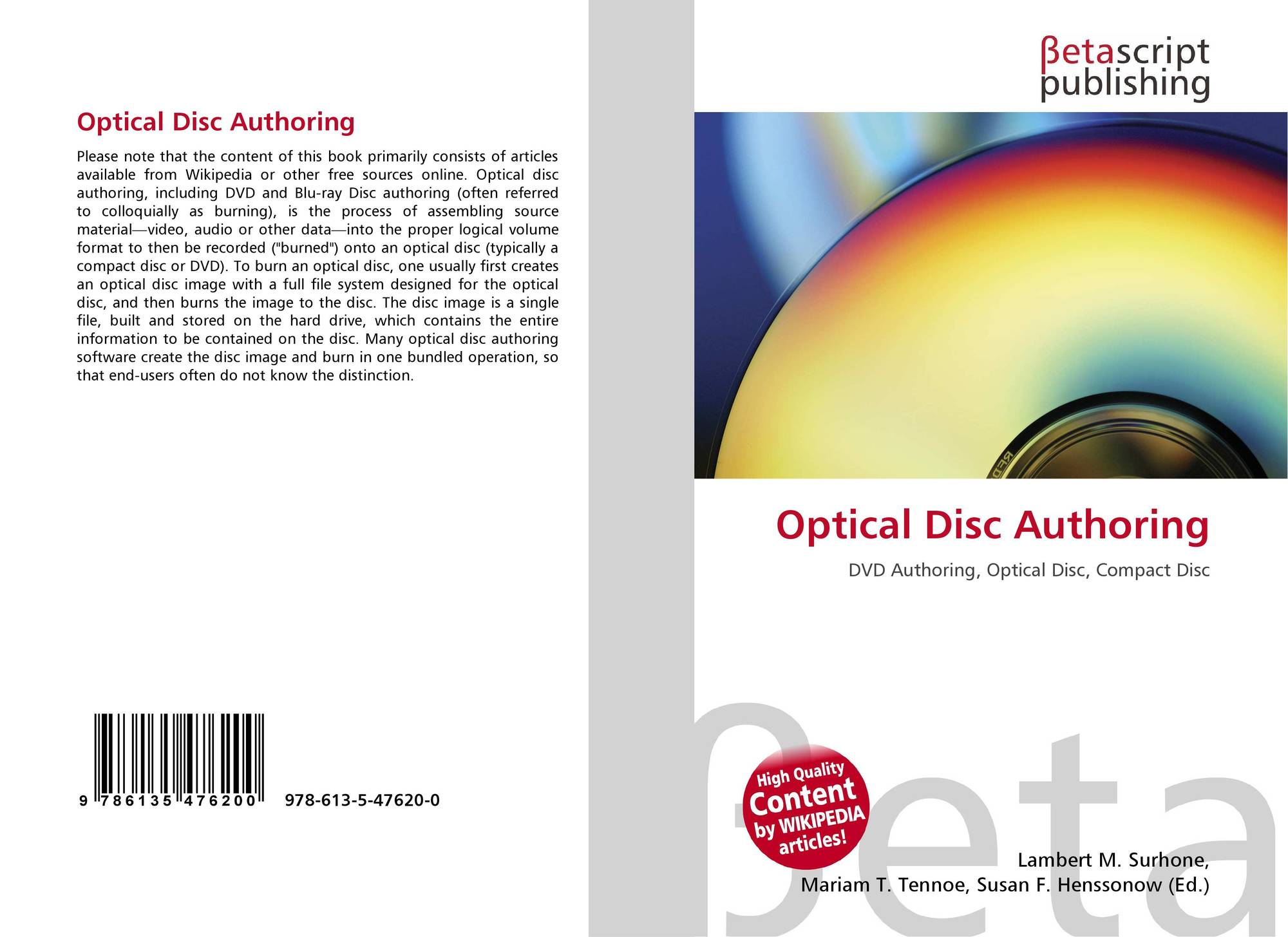 Optical Disc Authoring, 978-613-5-47620-0, 6135476203 ,9786135476200