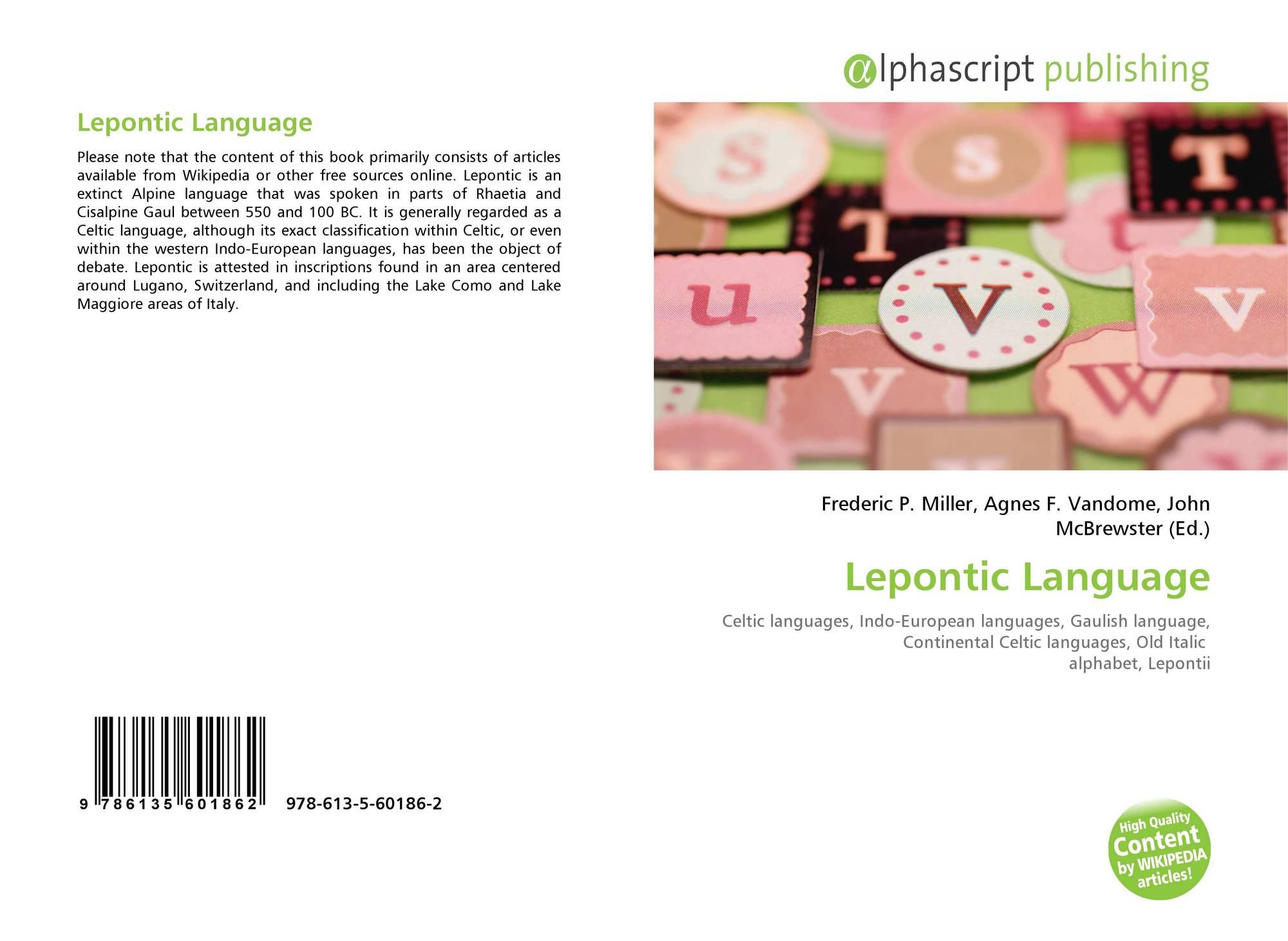 Lepontic Language 978 613 5 60186 2 6135601865 9786135601862