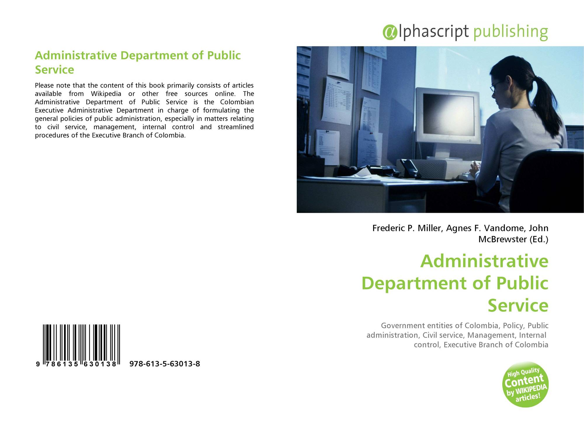 Bookcover of Administrative Department of Public Service. 9786135630138