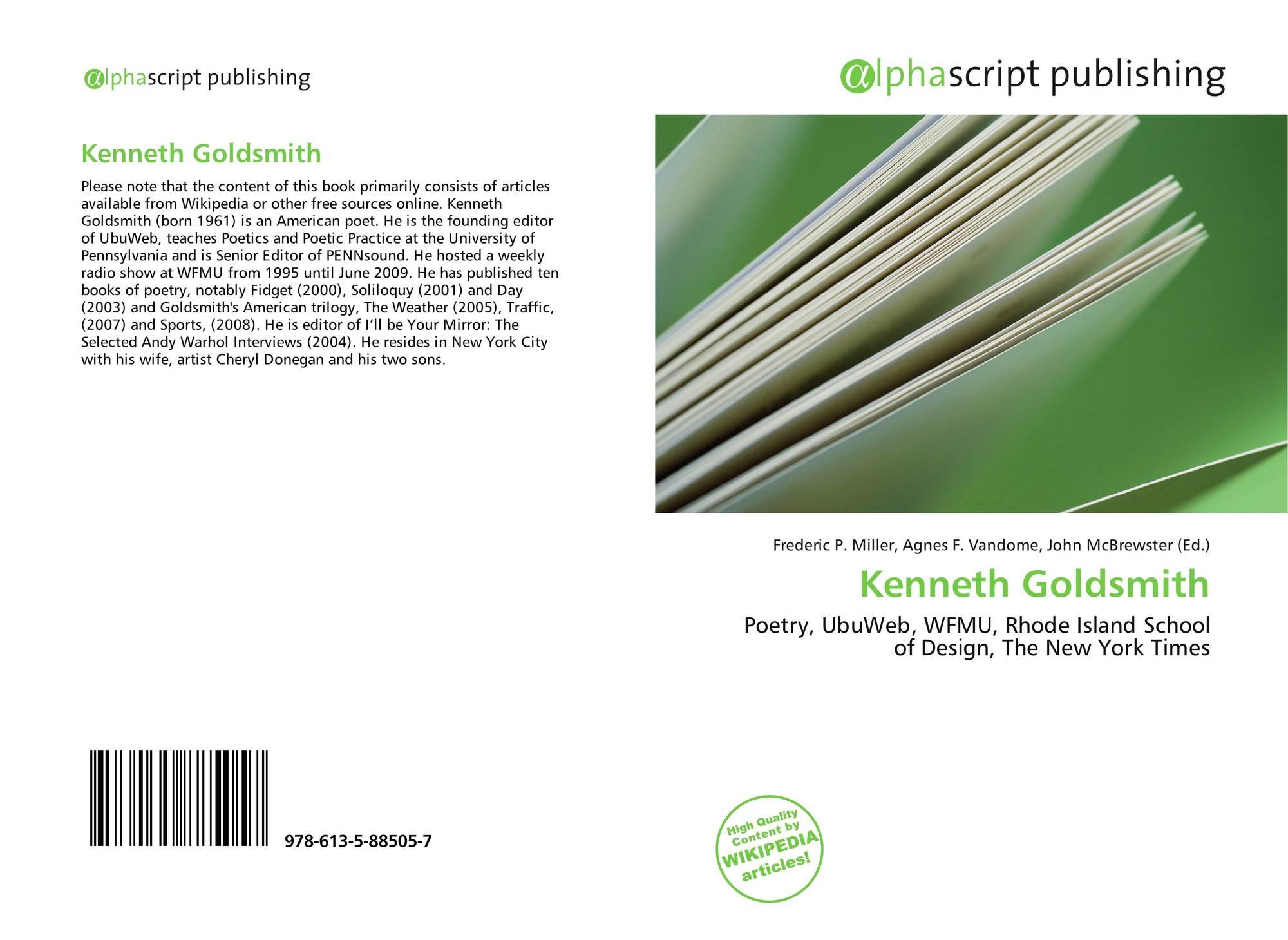 Kenneth Goldsmith 978 613 5 88505 7 6135885057 9786135885057