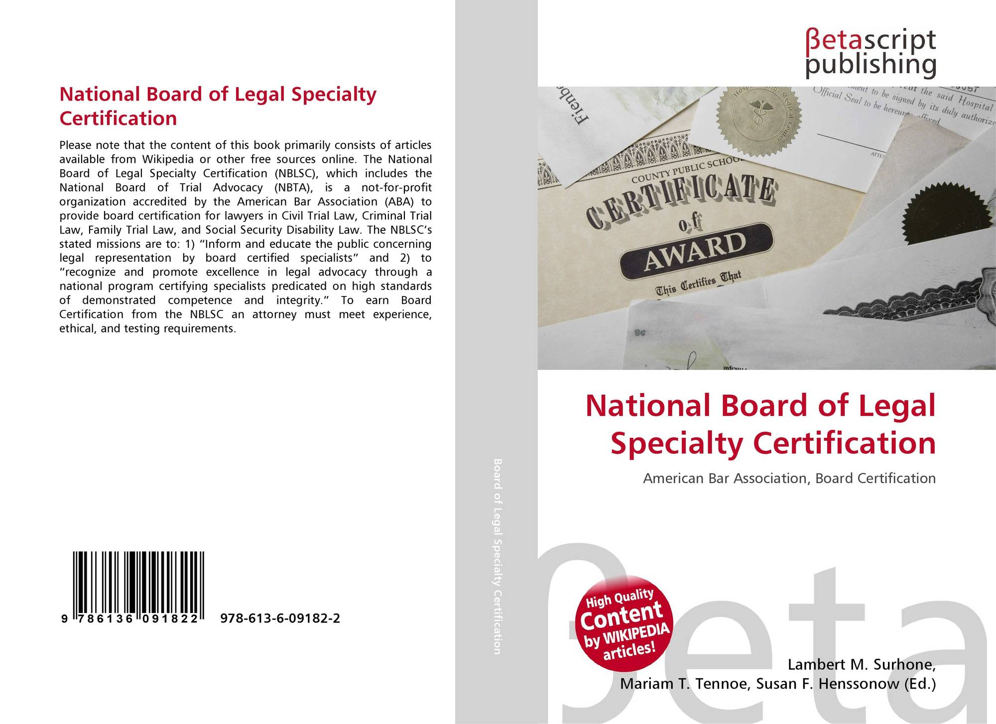 National Board Of Legal Specialty Certification 978 613 6 09182 2