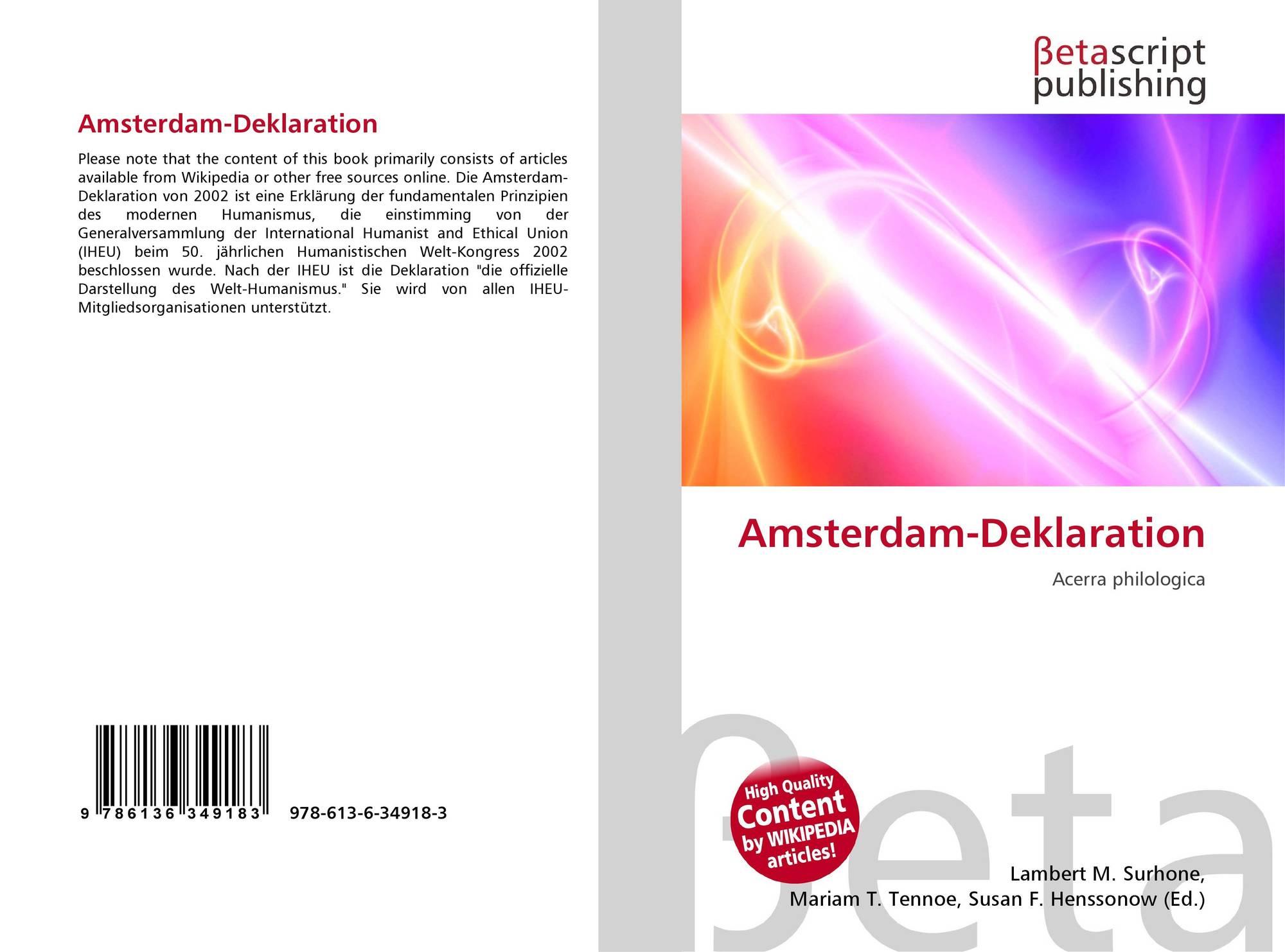 Amsterdam-Deklaration, 978-613-6-34918-3, 6136349183 ,9786136349183