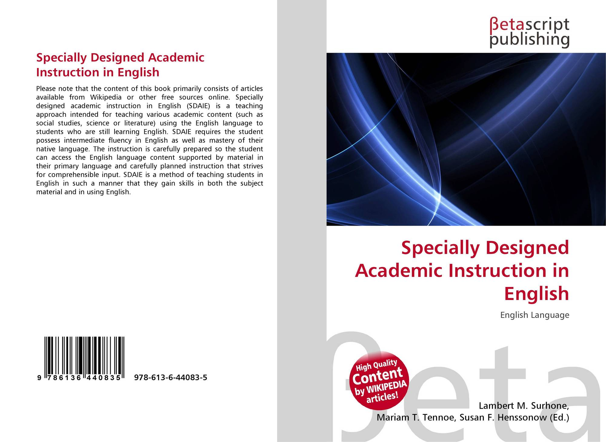 Specially Designed Academic Instruction In English 978 613 6 44083 5 6136440830 9786136440835
