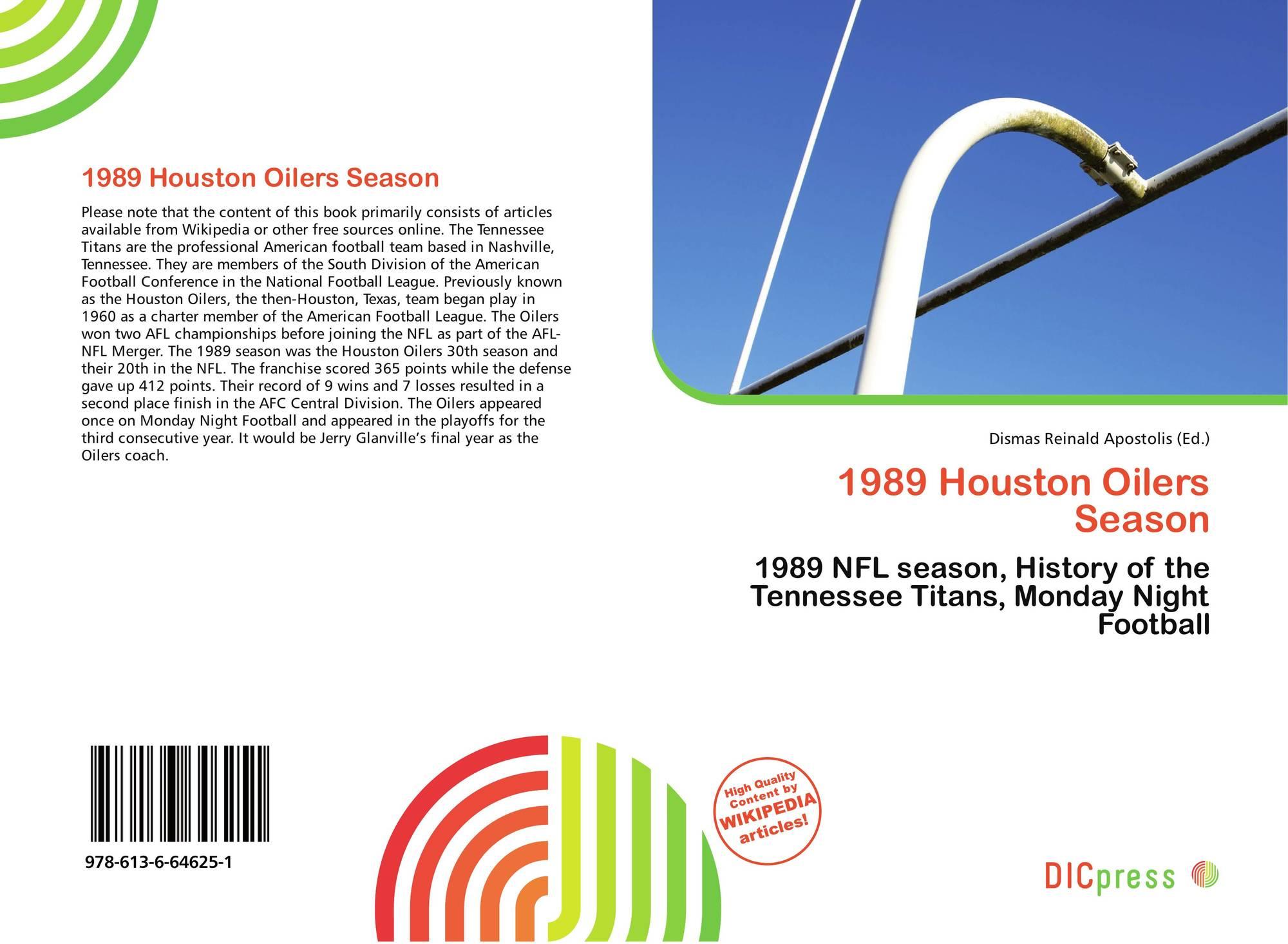 Bookcover of 1989 Houston Oilers Season. 9786136646251 52a39b250