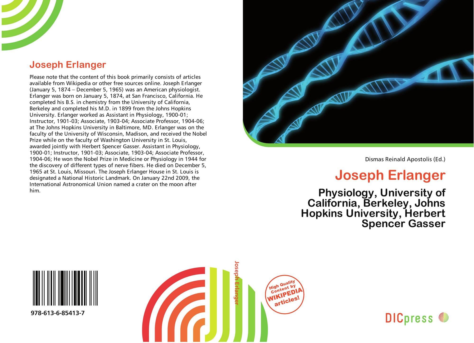 Joseph Erlanger, 978-613-6-85413-7, 6136854139 ,9786136854137