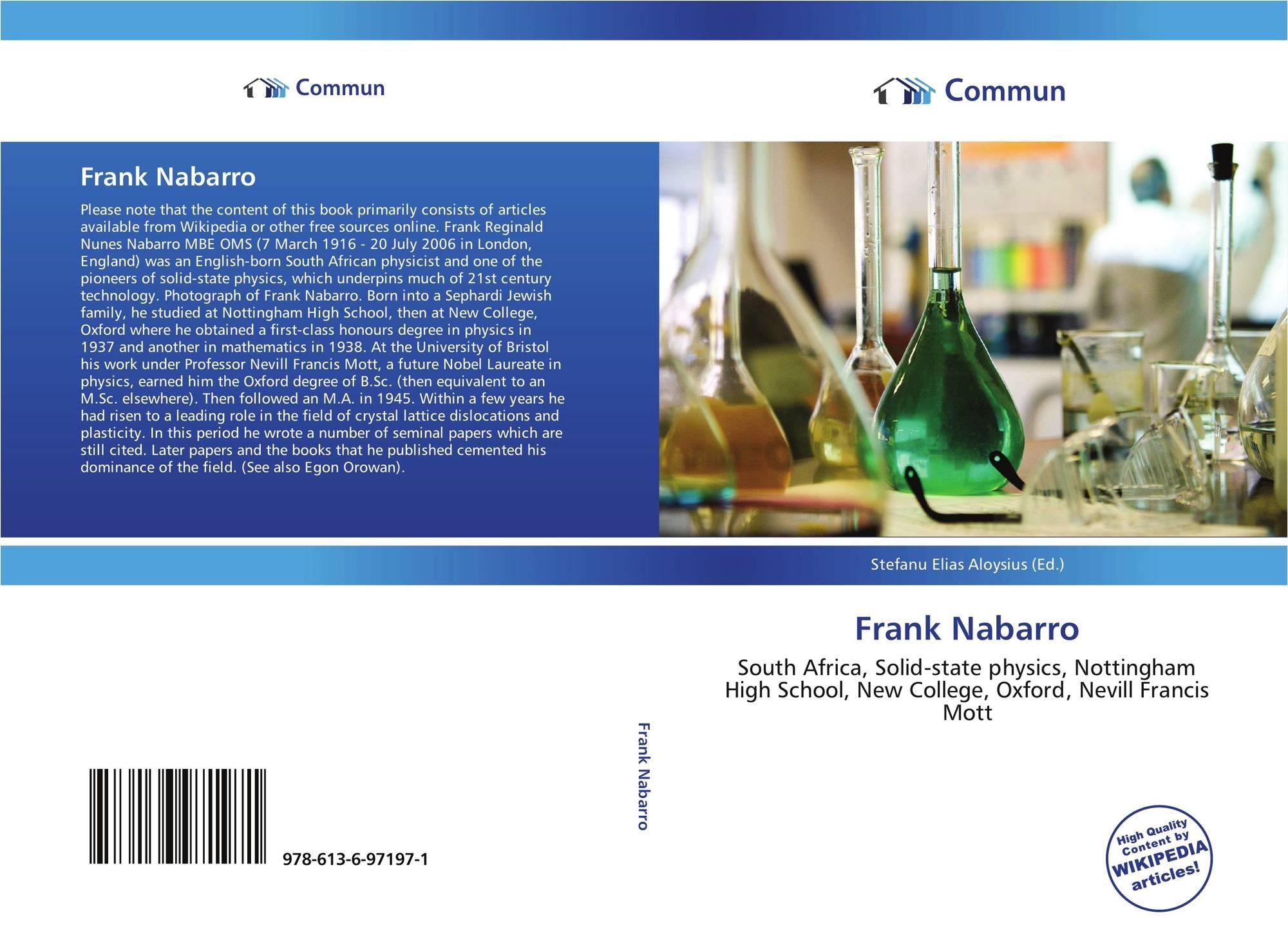 Frank Nabarro, 978-613-6-97197-1, 6136971976 ,9786136971971
