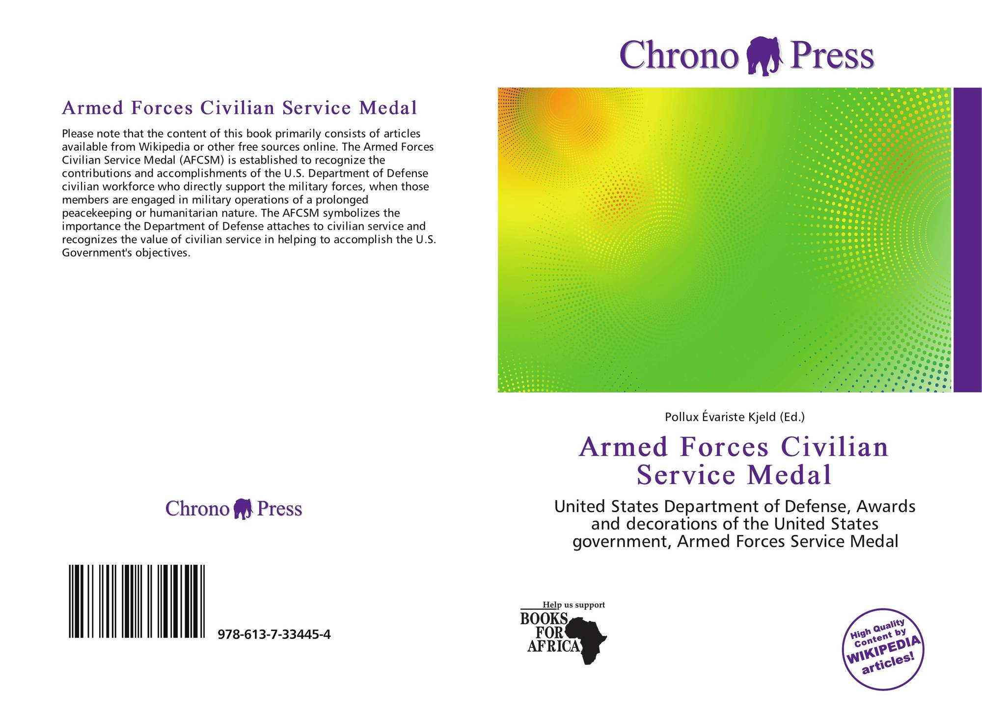 Armed Forces Civilian Service Medal, 978-613-7-33445-4